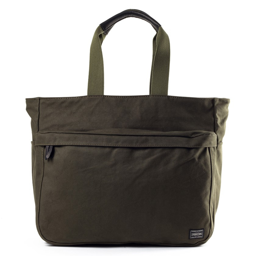 Porter Olive Green Cotton Canvas Beat Tote Bag In Green