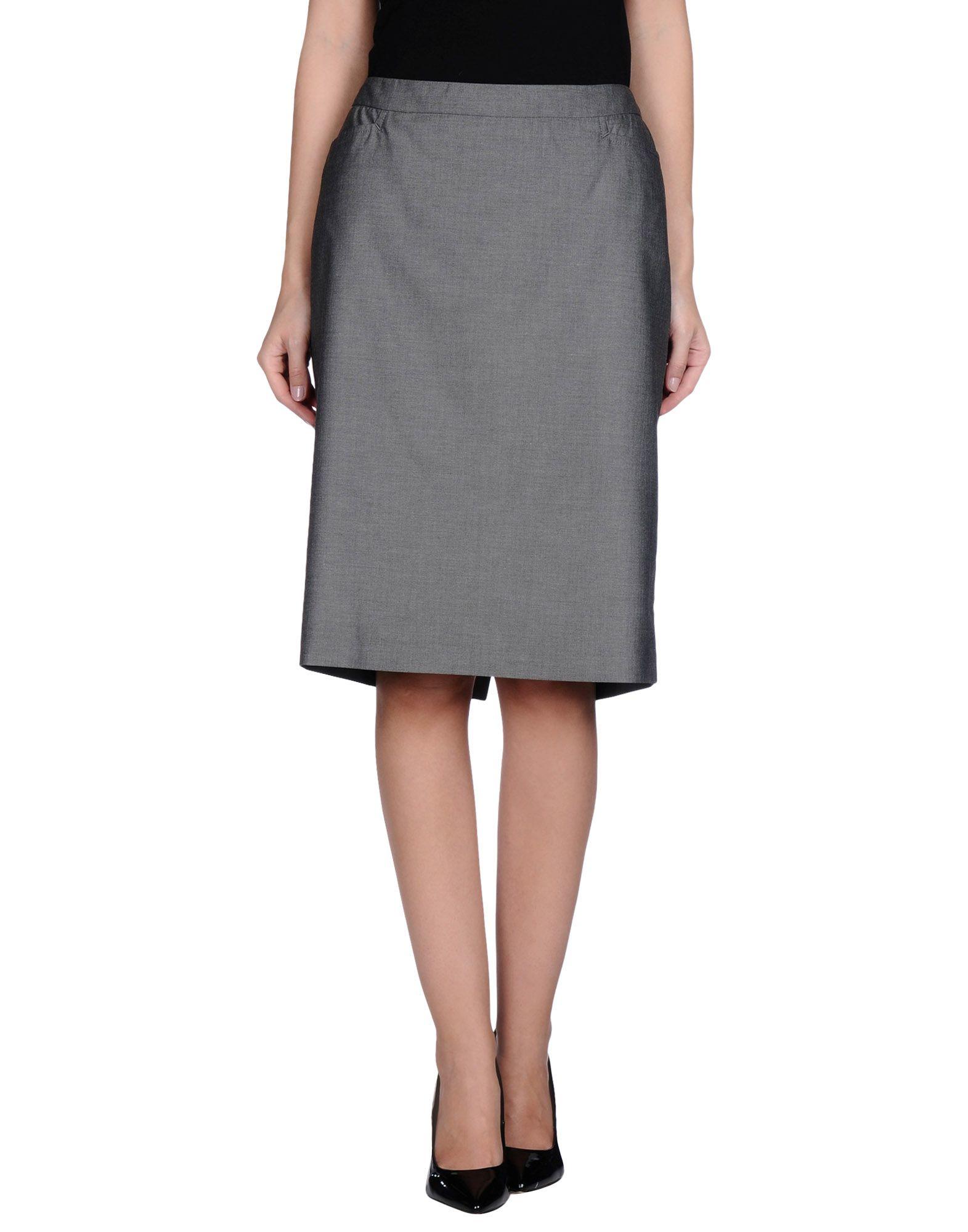 peserico knee length skirt in gray lyst