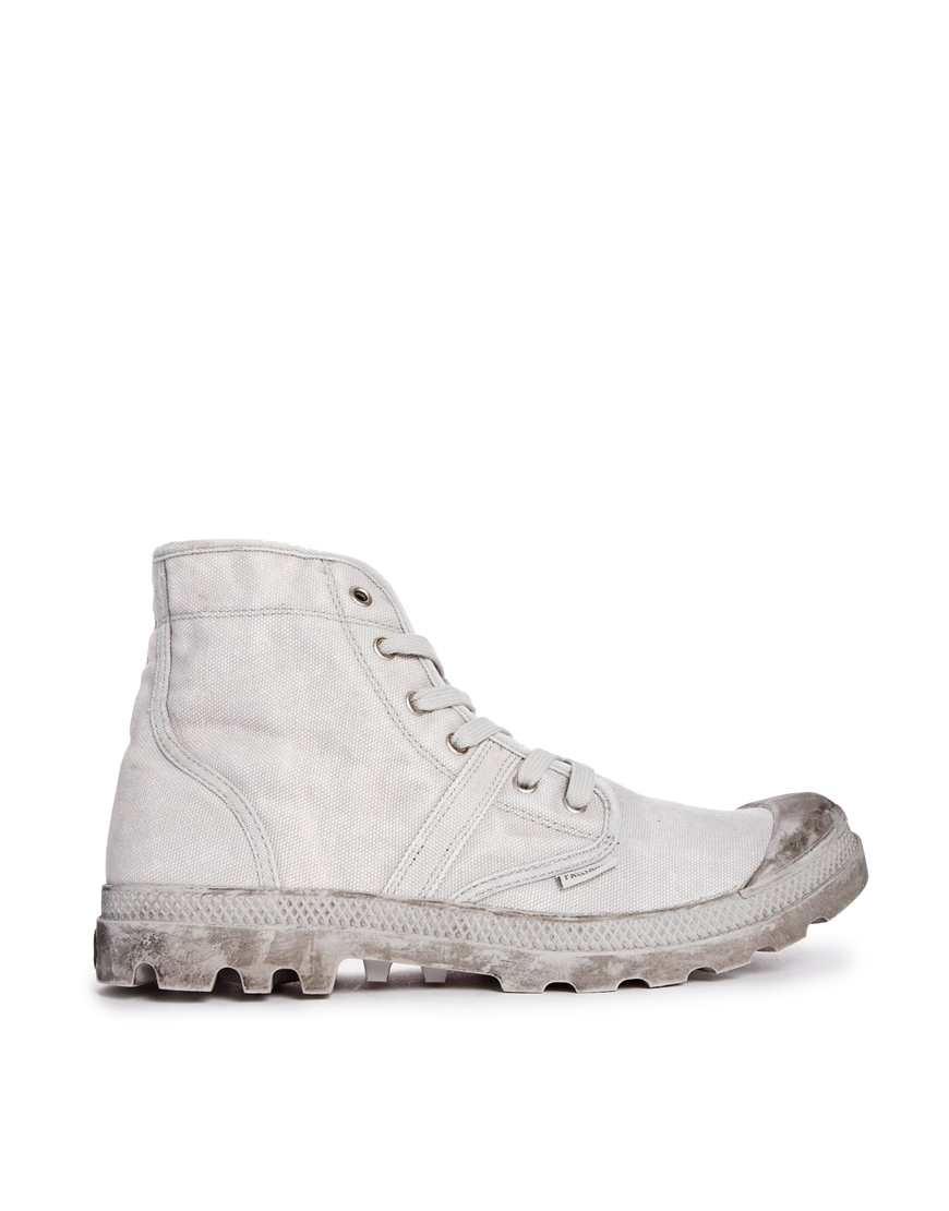 Luxury Palladium Pampa Grey Leather Hi Lace Up Ankle Boots In Gray Grey
