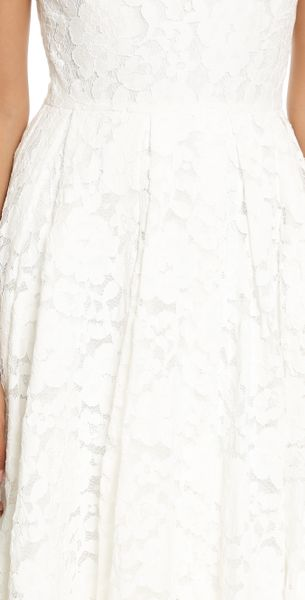 Alice Olivia Zack Lace Mid Calf Dress In White Lyst