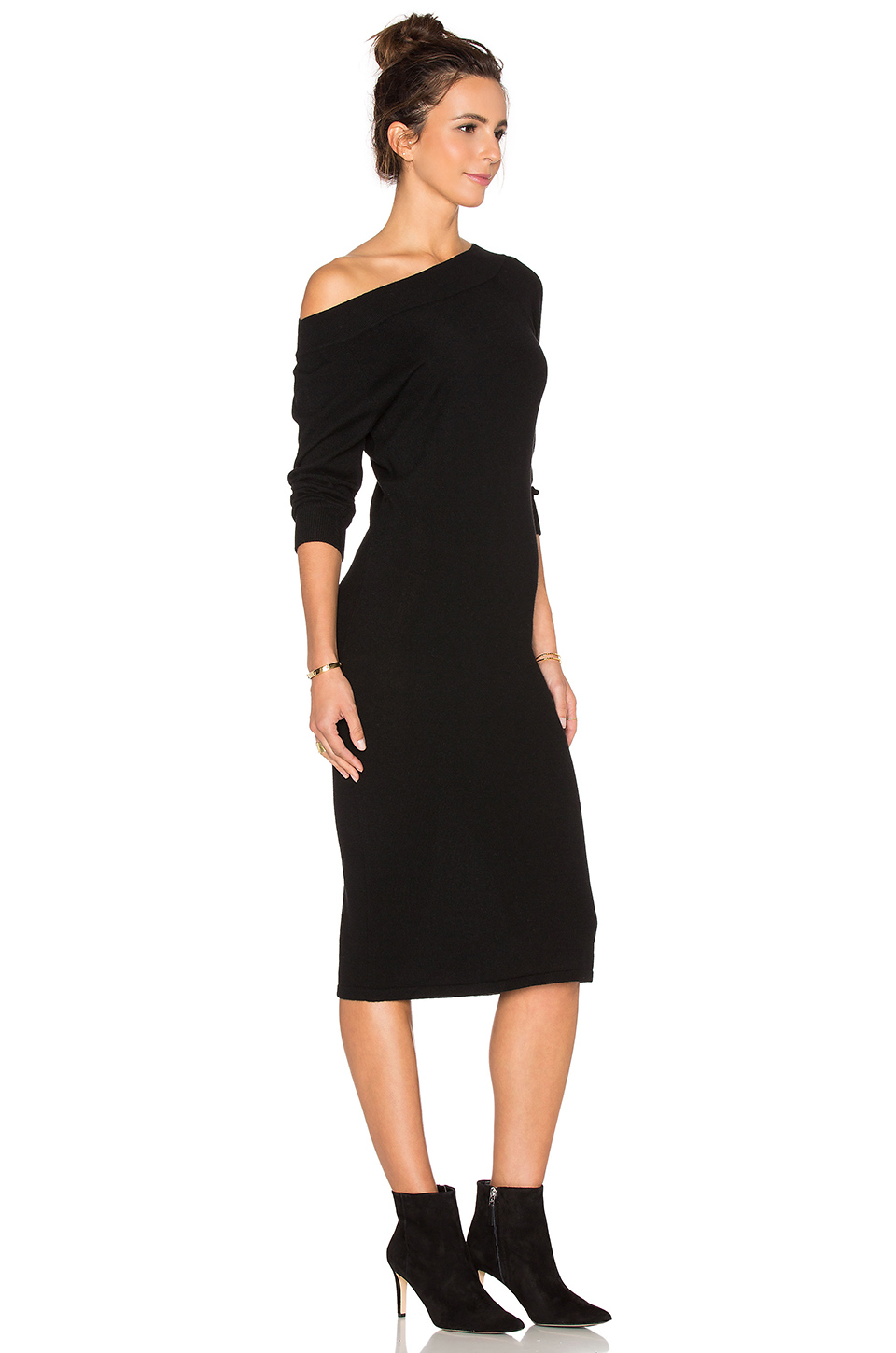 Lyst Autumn Cashmere Off Shoulder Sweater Dress In Black