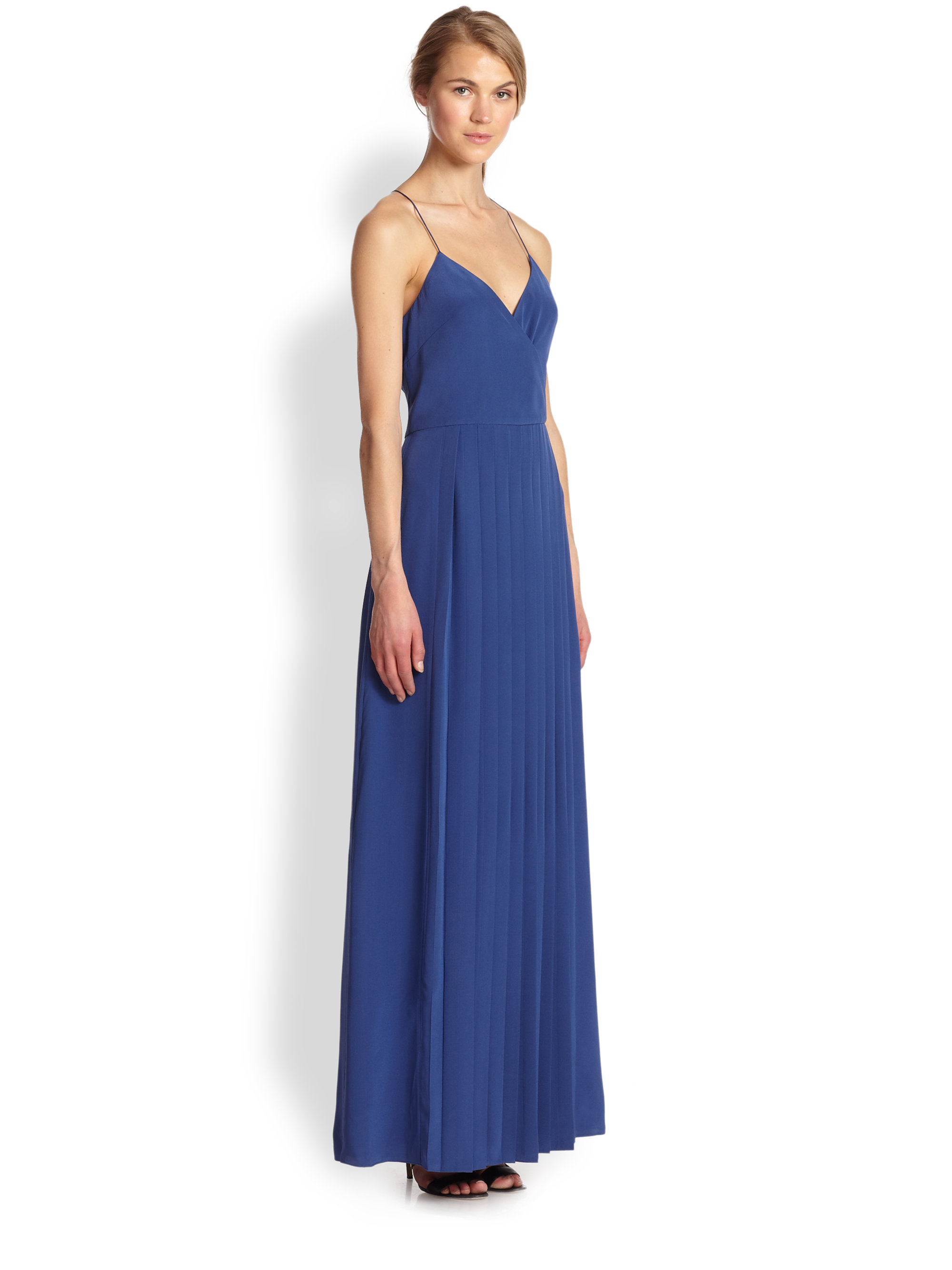 Tibi Silk Pleated Maxi Dress in Blue | Lyst