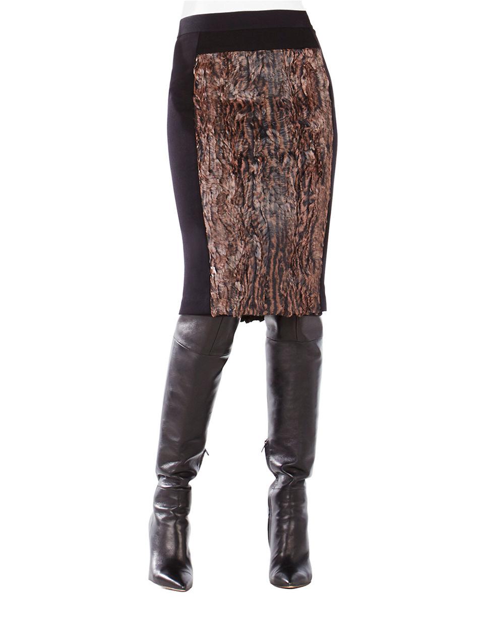 bcbgmaxazria ines faux fur pencil skirt in brown lyst