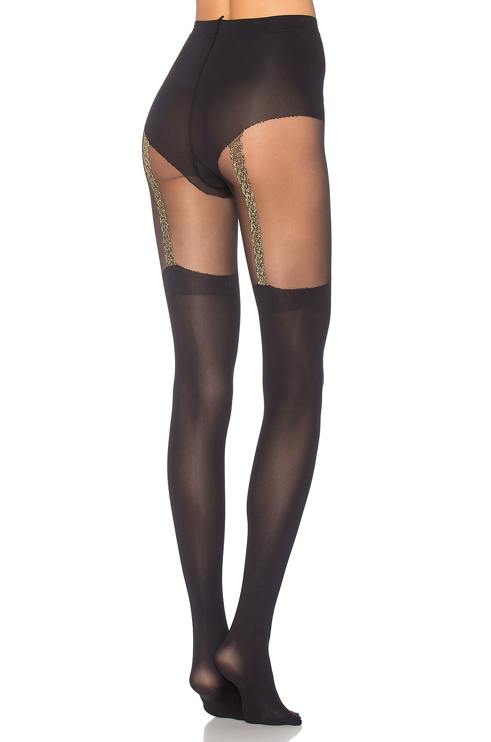 872d1cc0803 Lyst - Pretty Polly Gold Link Mock Suspender Tight in Black