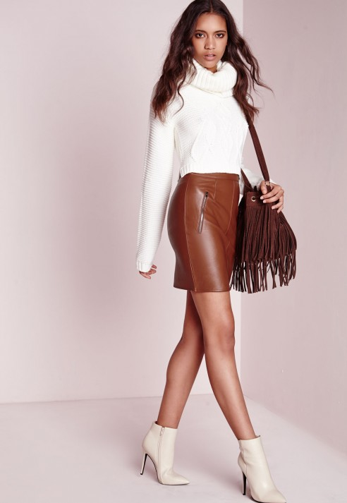 Missguided Zip Detail Faux Leather Mini Skirt Tan in Brown | Lyst