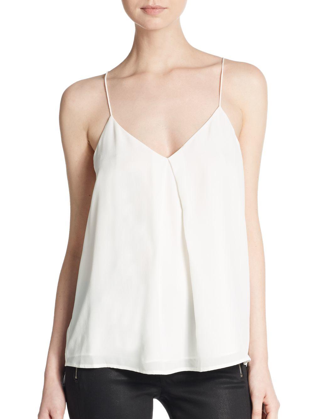 Joie Nahlah Pleated Silk Tank Top in White (porcelain)