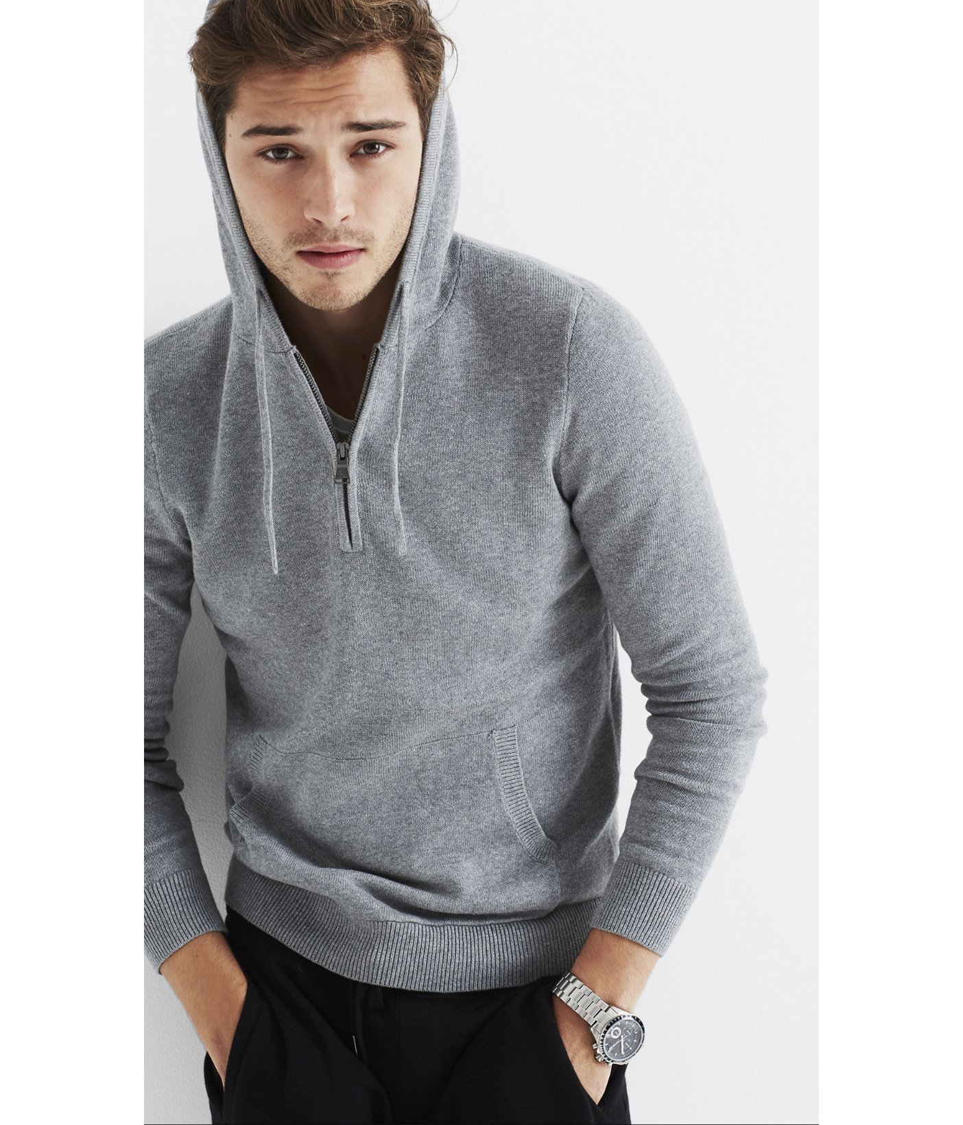 Express Cotton Half Zip Hooded Sweater in Gray for Men | Lyst