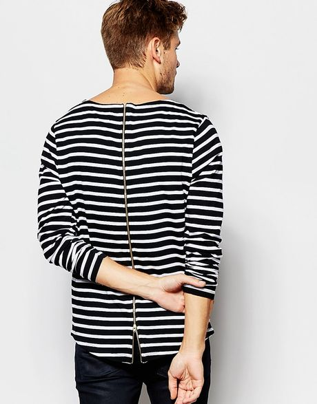 Asos Long Sleeve T Shirt With Breton Stripe And Zip Back