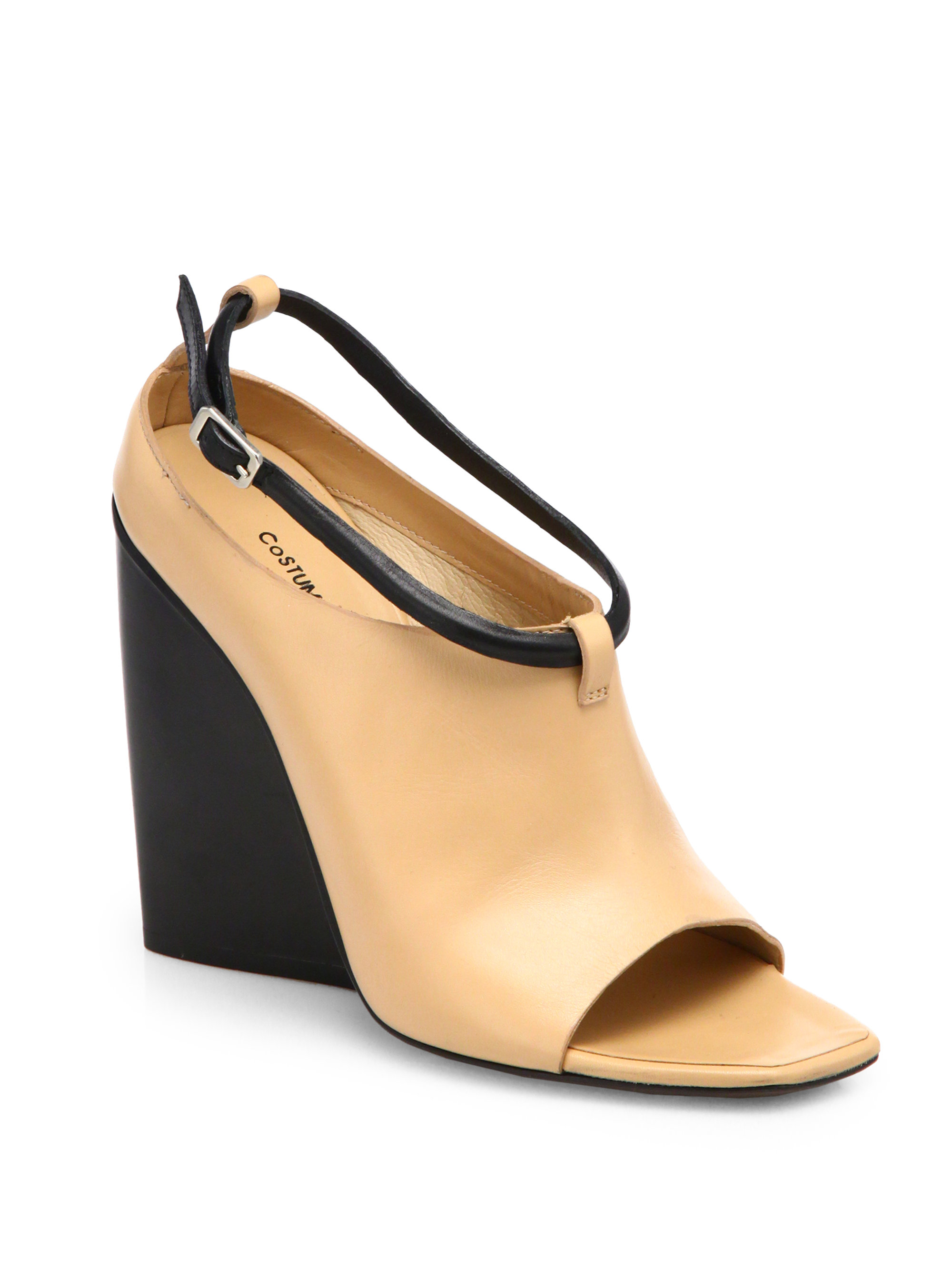 costume national leather open toe wedge ankle boots in