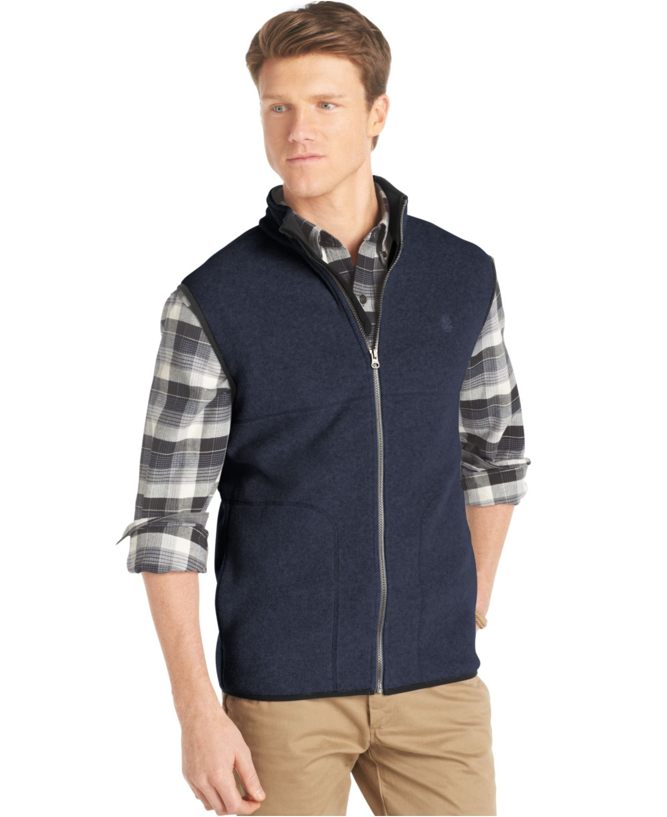Izod Big And Tall Full Zip Polar Fleece Vest In Blue For
