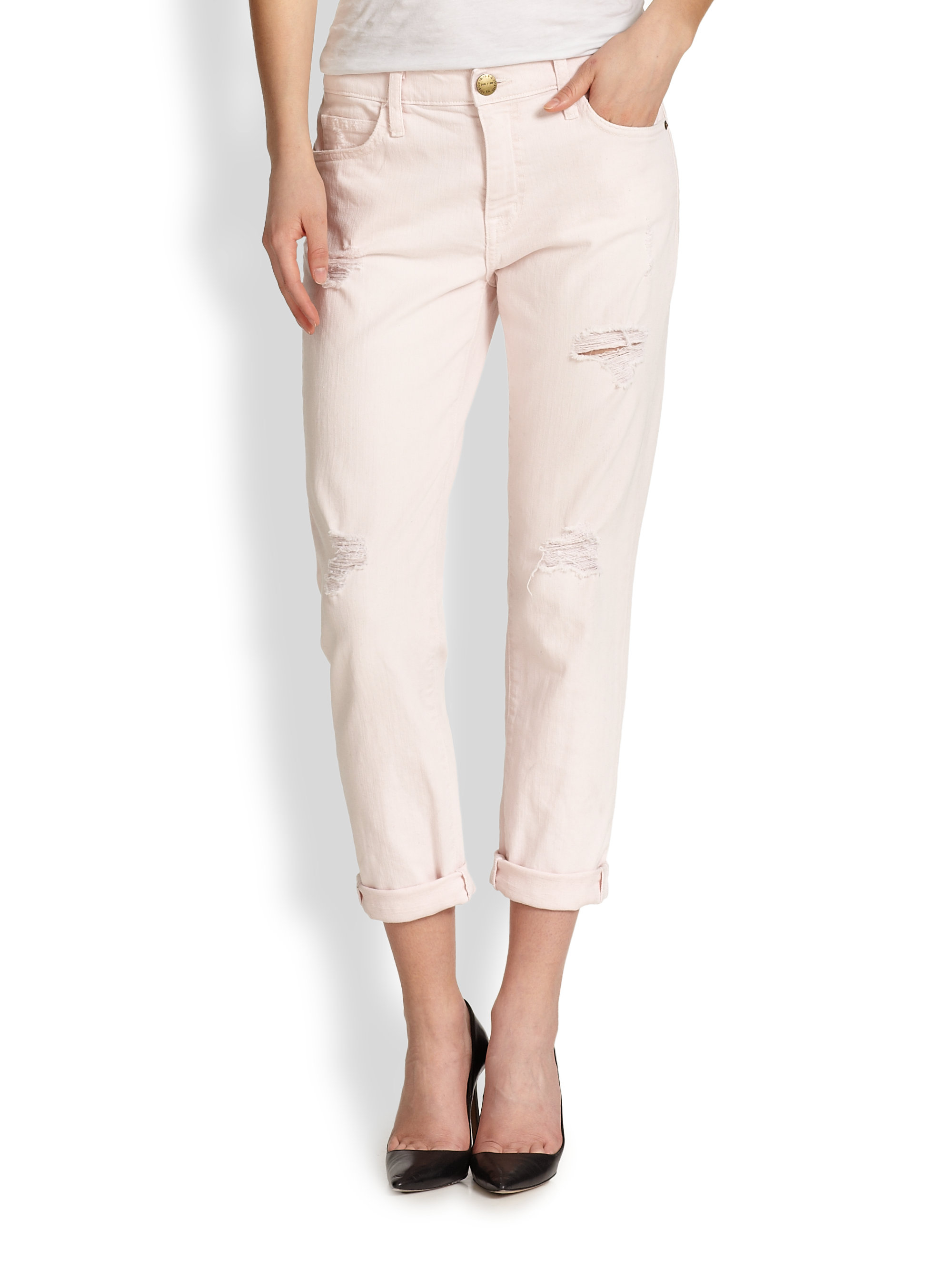 Current/elliott The Fling Distressed Boyfriend Jeans in Pink | Lyst