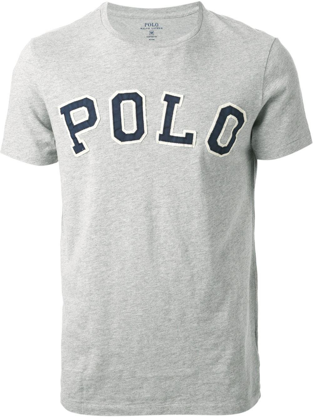 polo ralph lauren logo appliqu t shirt in gray for men