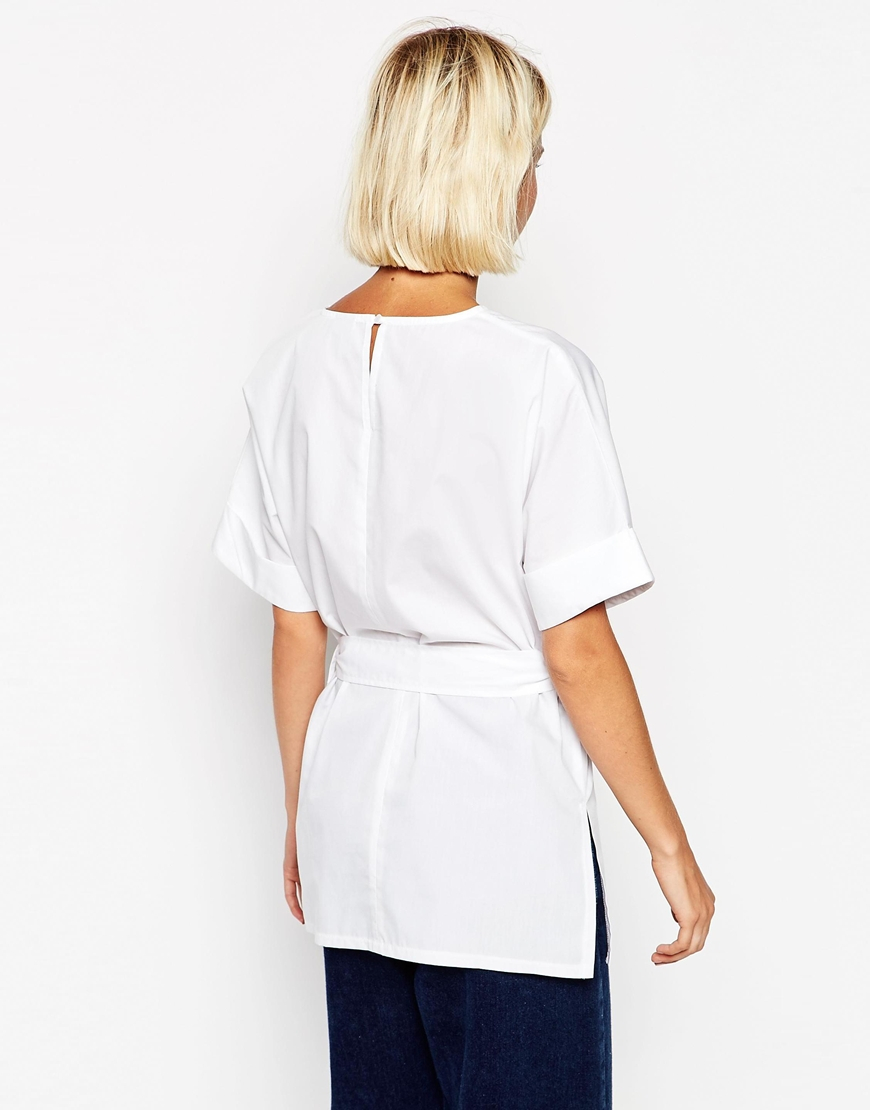 Lyst asos clean belted t shirt in white cotton in white for How to clean white dress shirts