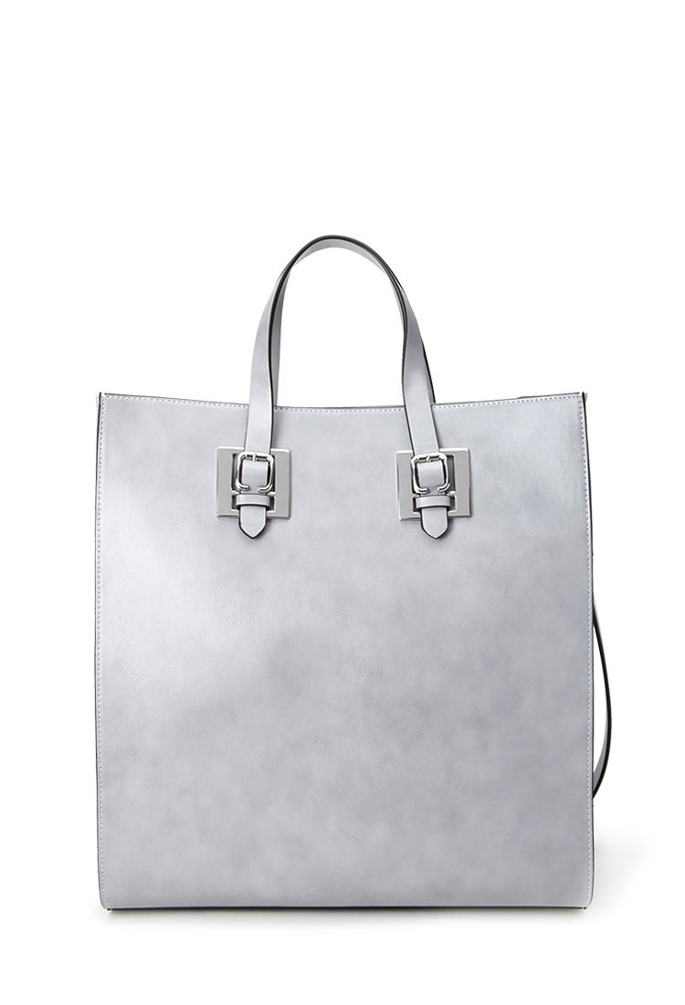 a87014569d6b Lyst - Forever 21 Structured Tote Bag in Gray