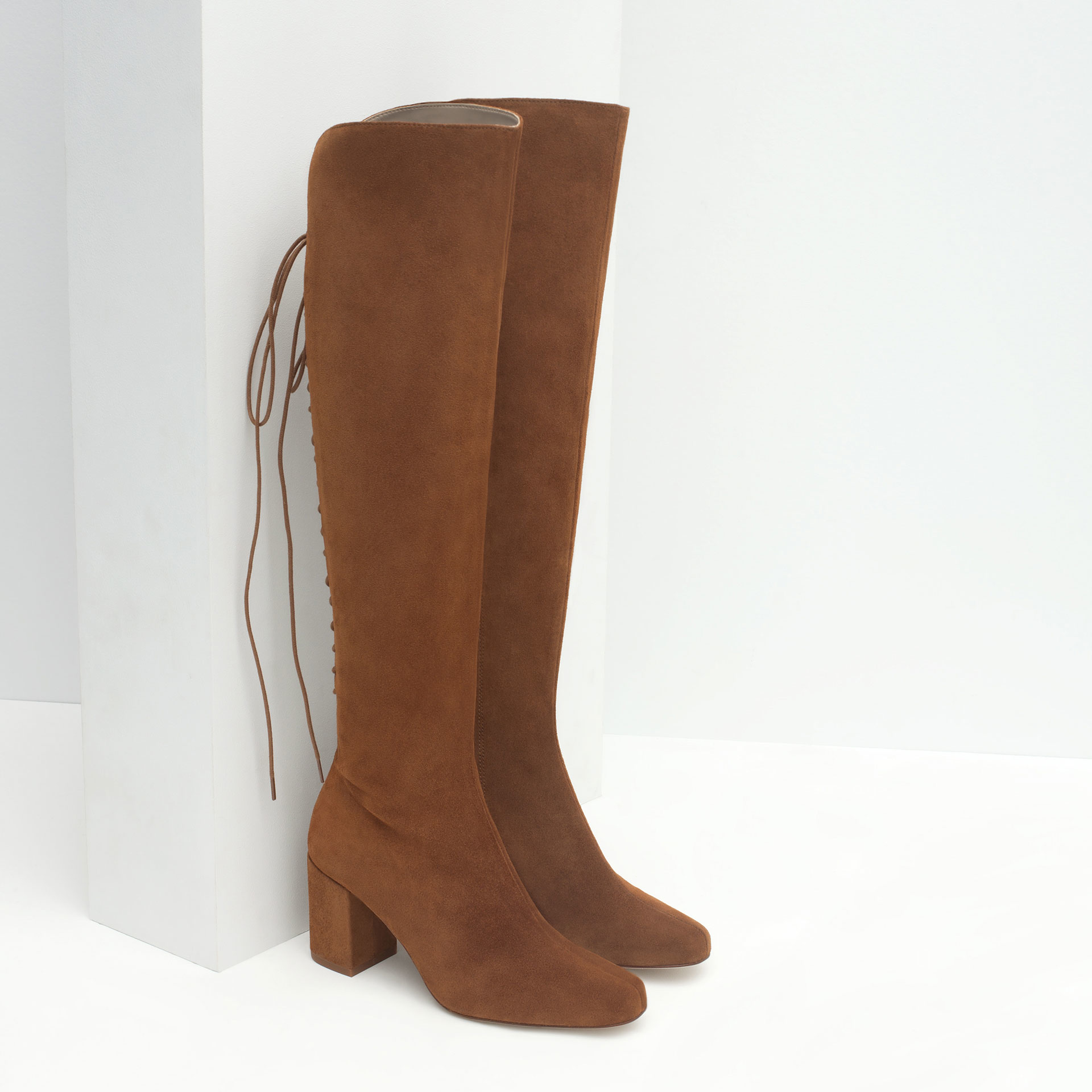 zara high heel leather boots with laces in brown lyst