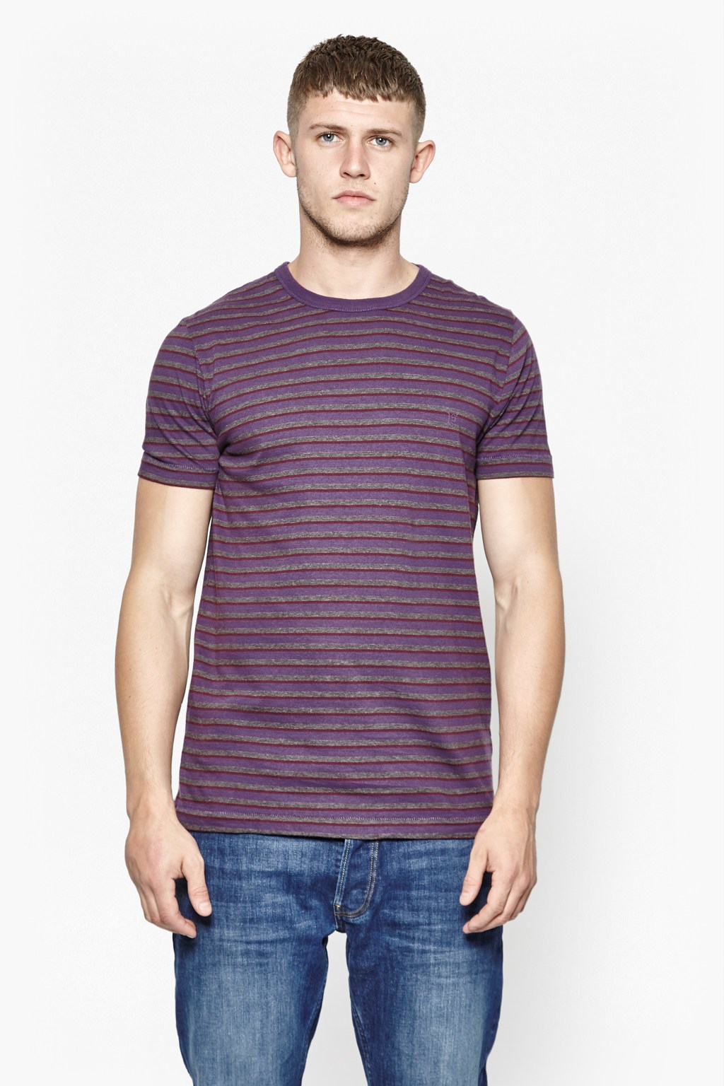 french connection kerouac striped t shirt in purple for. Black Bedroom Furniture Sets. Home Design Ideas