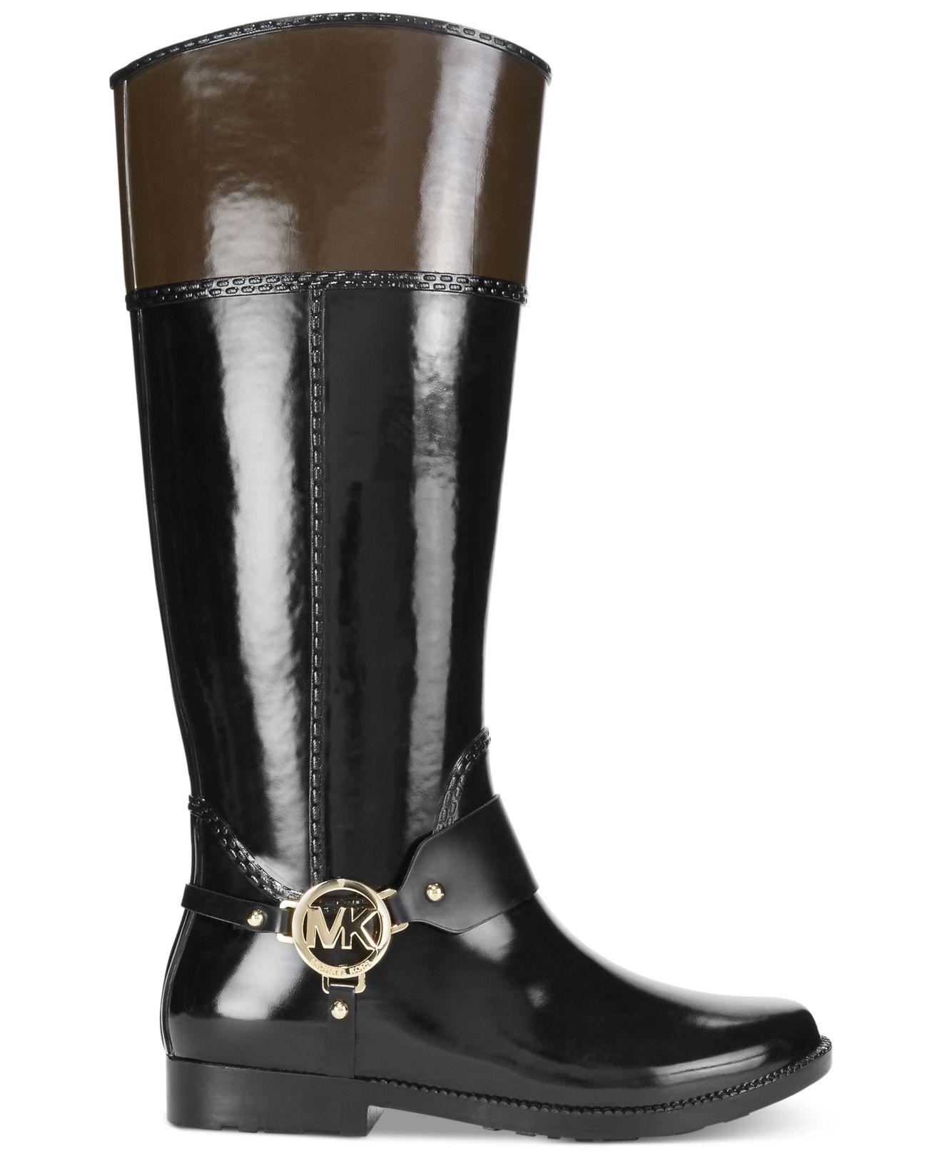 Lyst Michael Kors Michael Fulton Harness Rain Boots In Black