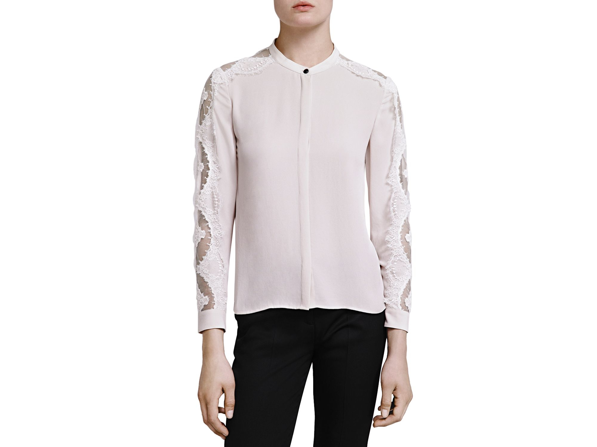 506536ca1b Lyst - The Kooples Crepe & Lace Shirt in Natural