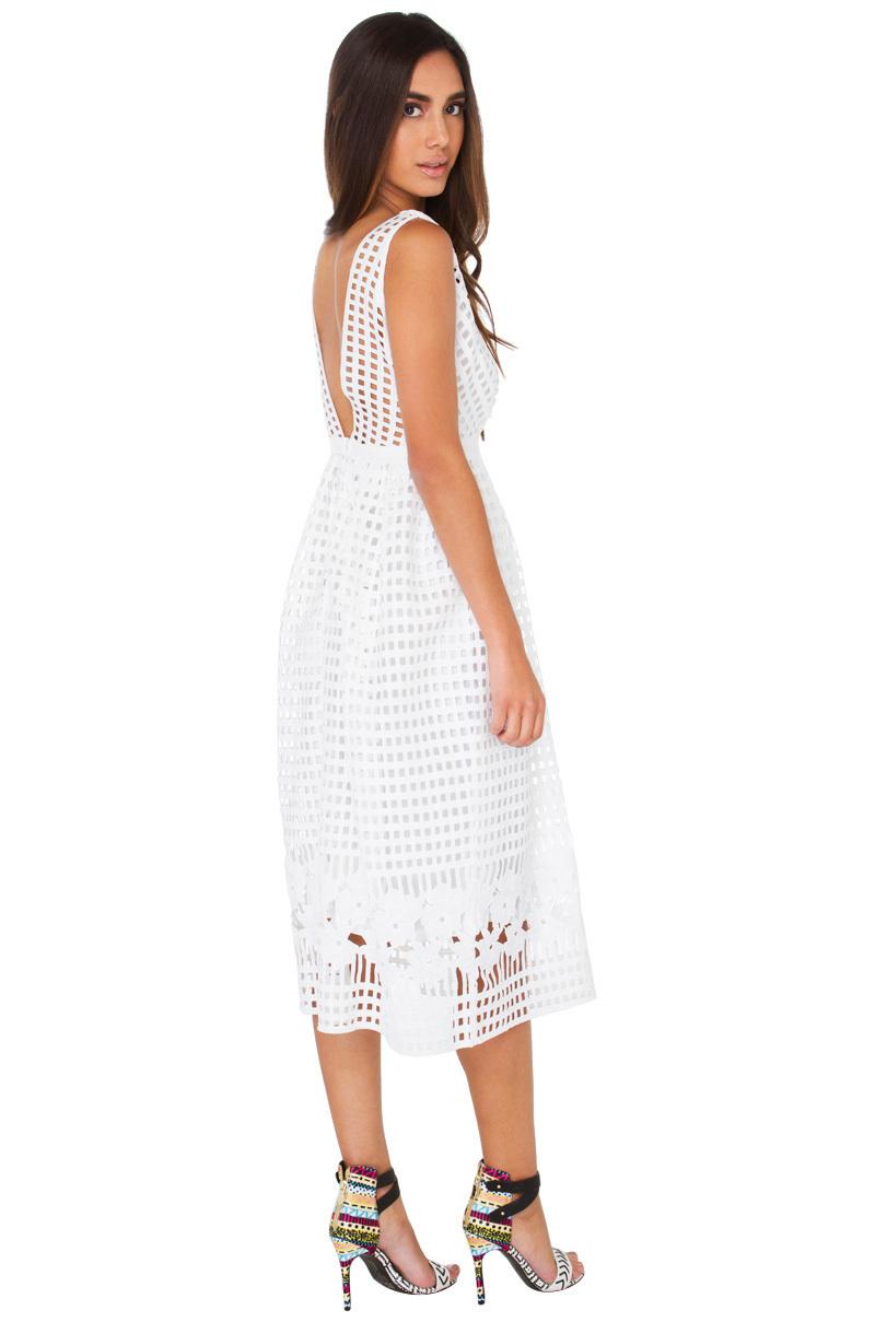 233f859d9aa Lyst - Gracia Sun Frolic White Cut Out Grid Midi Dress in White