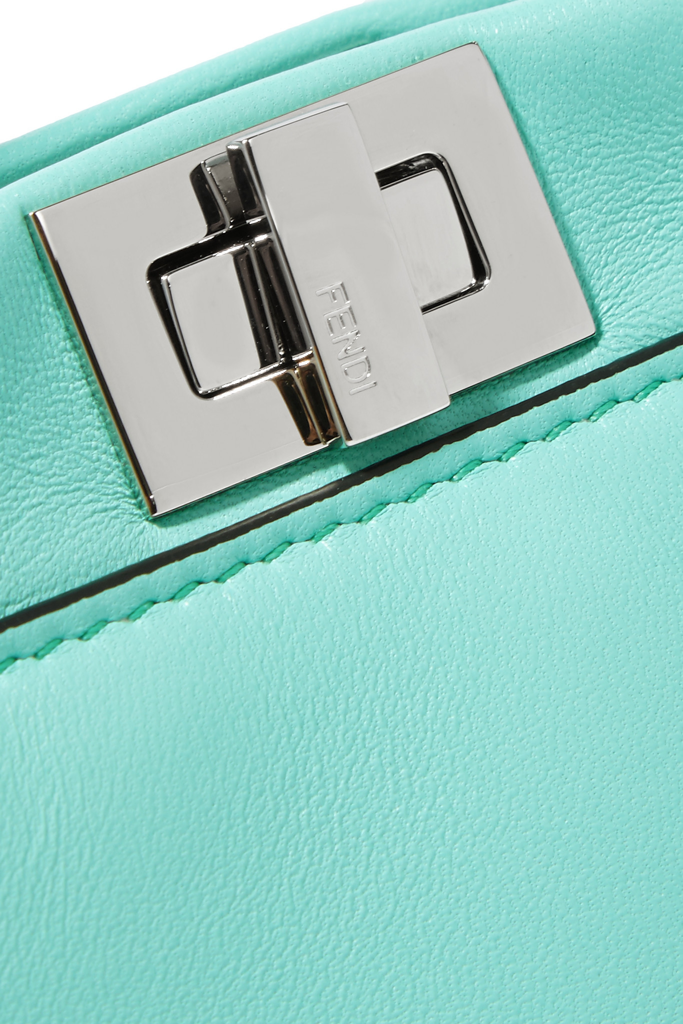 21066c748a82 fendi outlet online store - Fendi Peekaboo Micro Leather Shoulder Bag in  Blue (Turquoise)