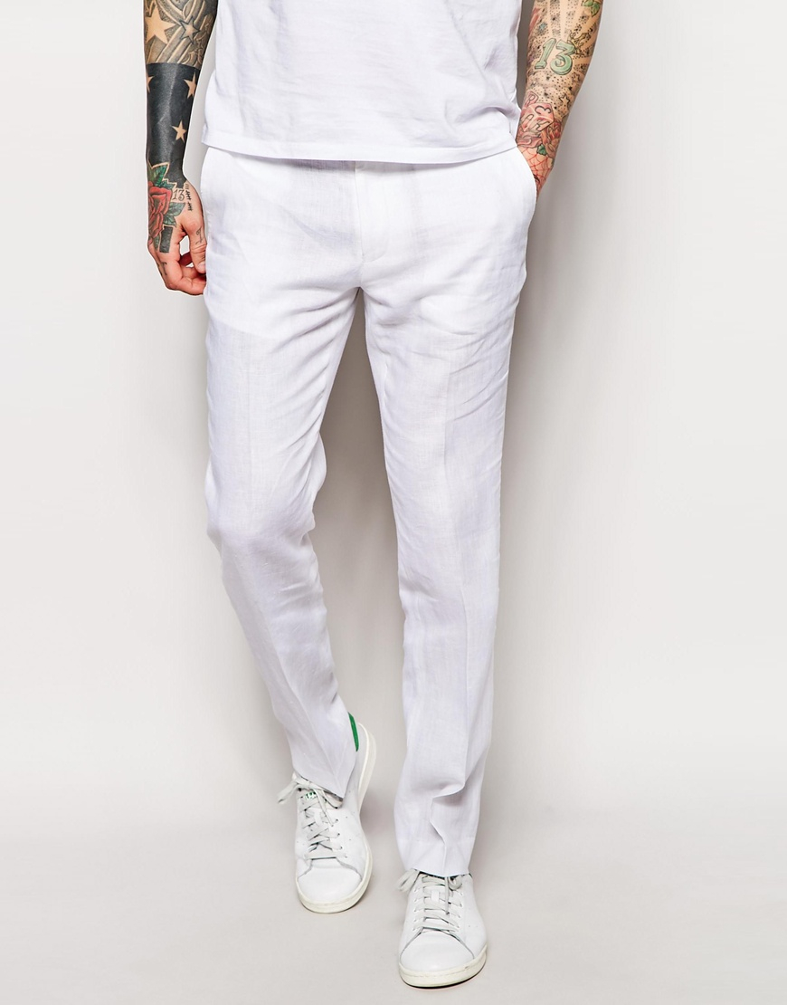 Asos Slim Fit Suit Pants In 100% Linen in White for Men | Lyst