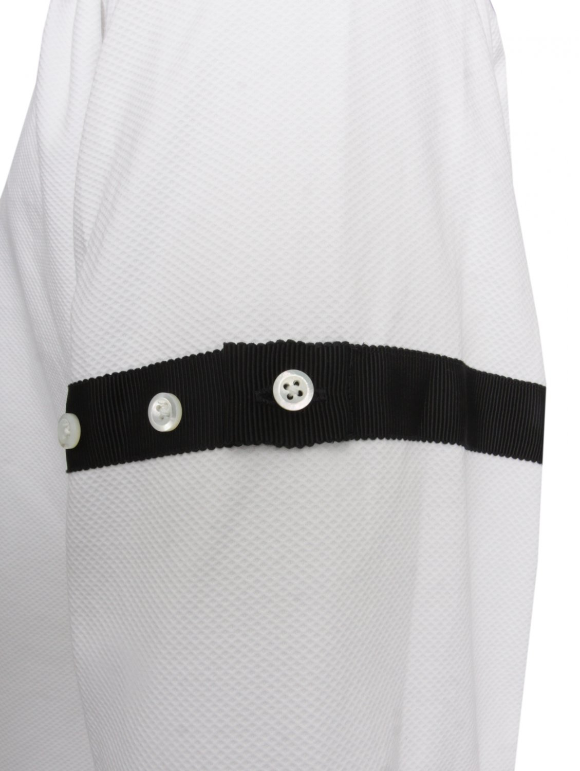 Thom browne classic shirt white pique with black tipping for Thom browne white shirt