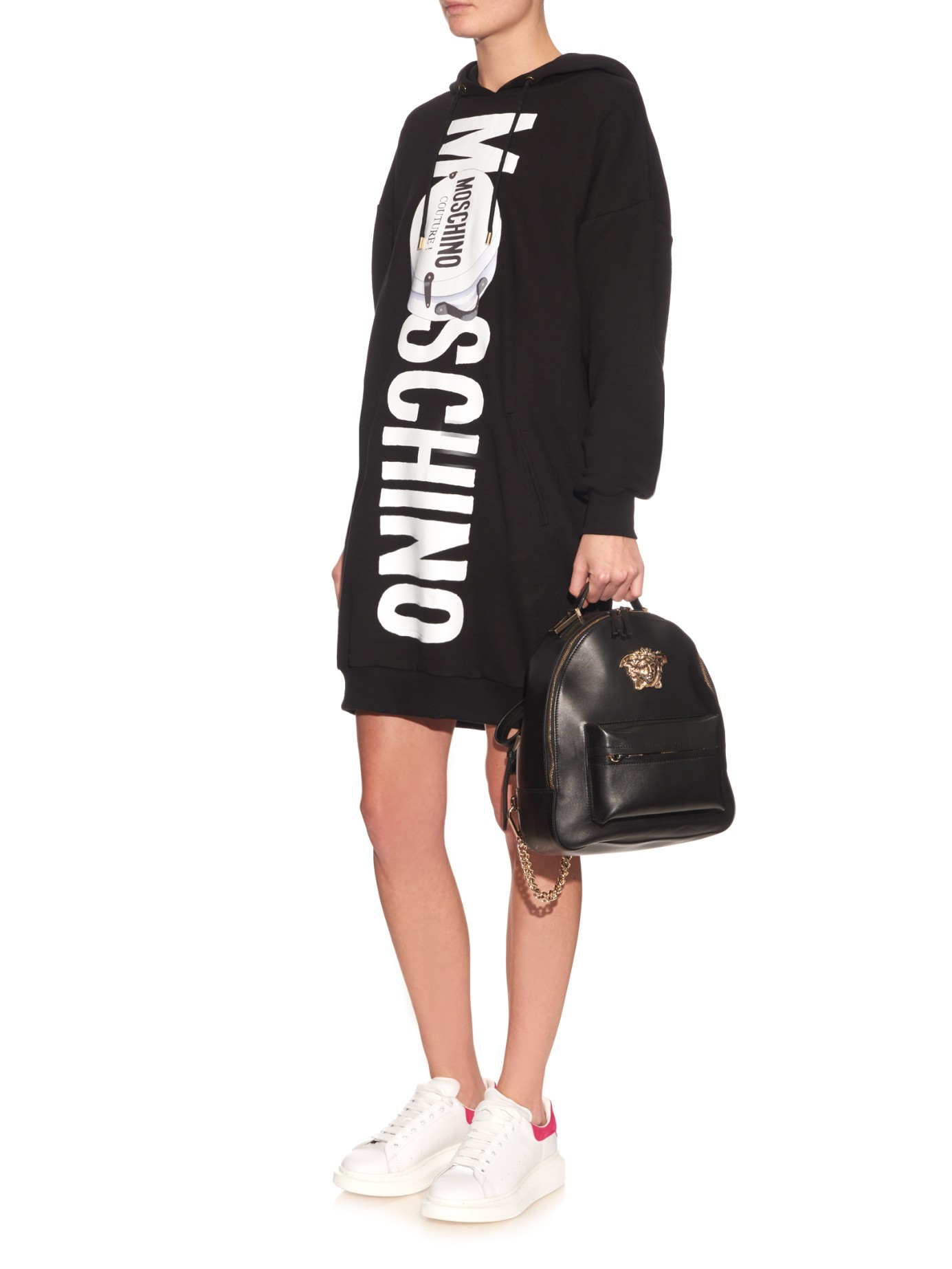 Lyst Moschino Printed Logo Oversized Hooded Sweater