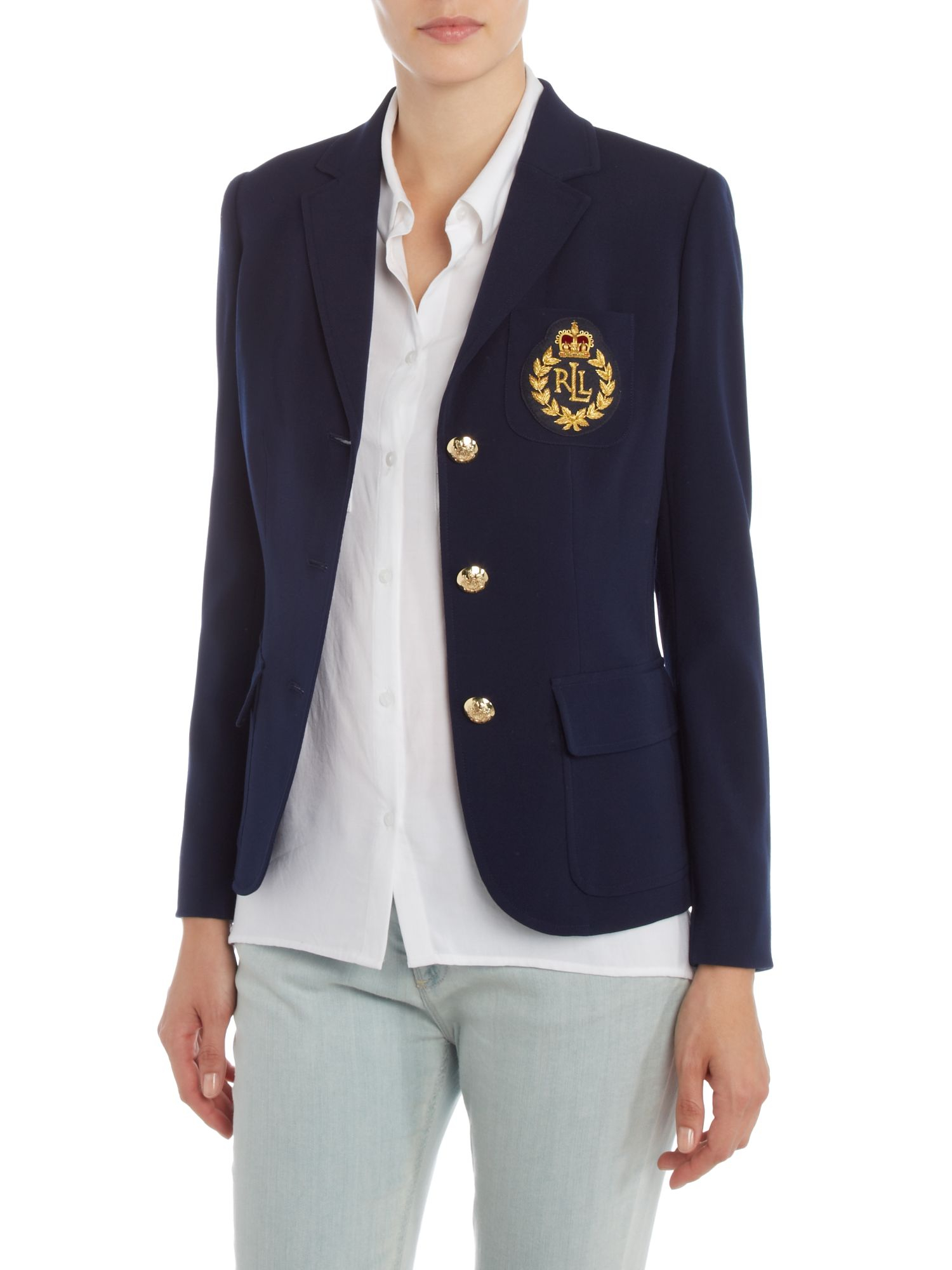 lauren by ralph lauren long sleeved blazer with crest pocket detail in. Black Bedroom Furniture Sets. Home Design Ideas