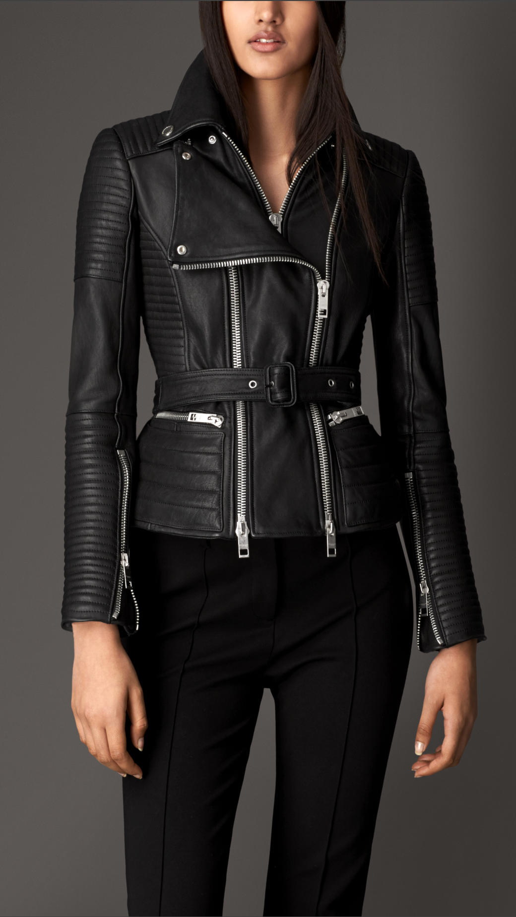 Burberry Zip Detail Leather Biker Jacket In Black Lyst