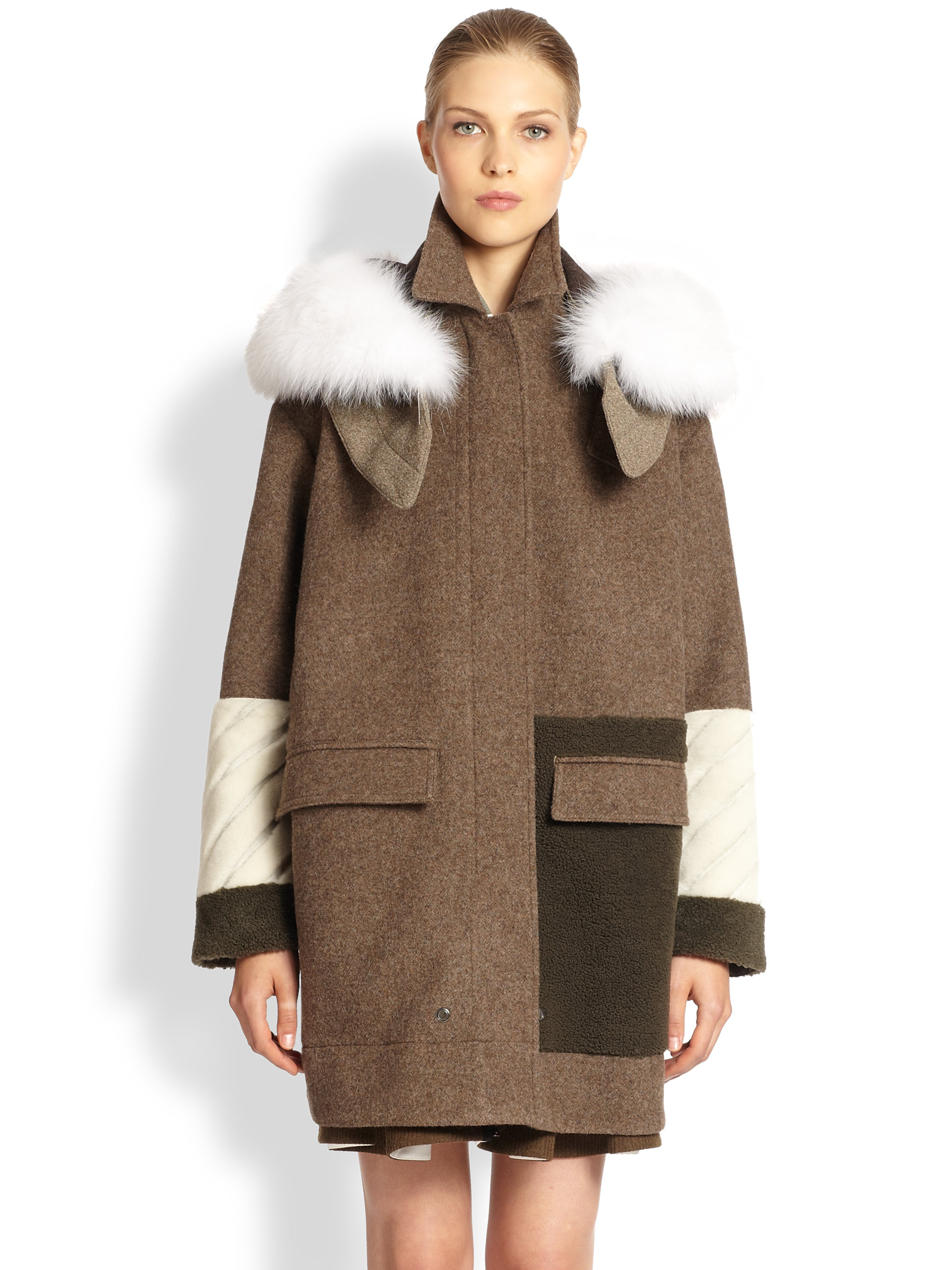 Fendi Furtrimmed Wool Shearling Coat in Brown for Men | Lyst