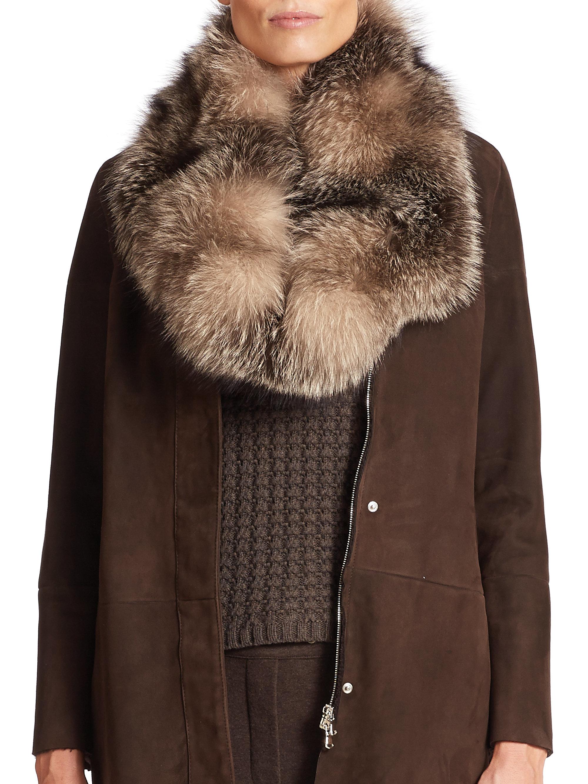 eleventy fox fur scarf in brown lyst