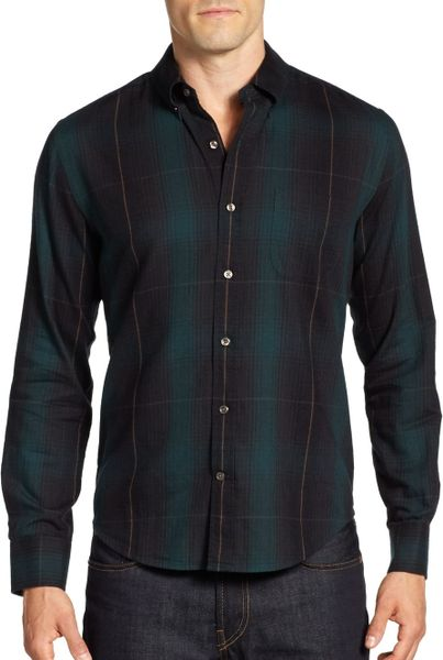 Vince Flannel Plaid Button Down Shirt In Green For Men
