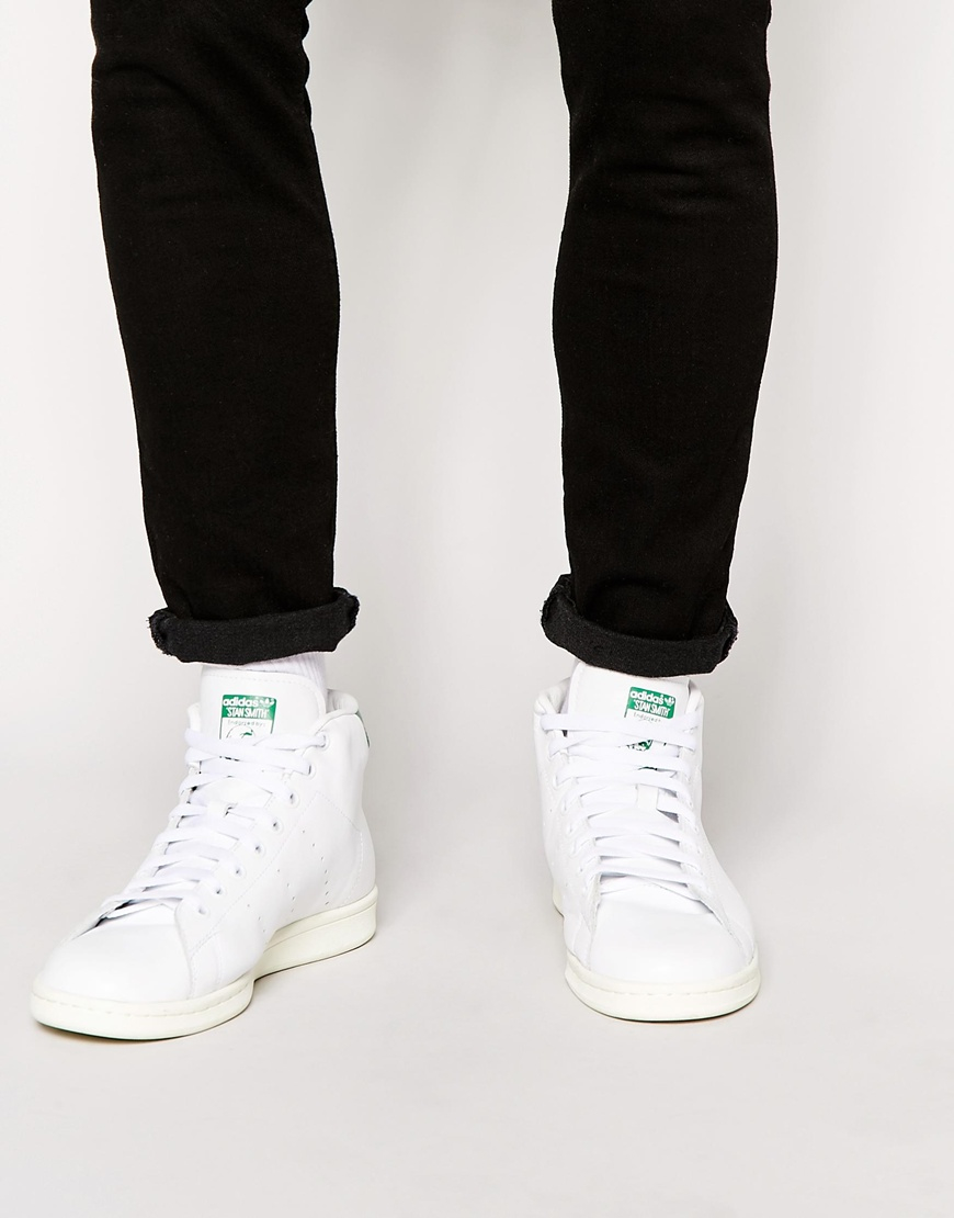 adidas originals stan smith mid trainers b24538 in white. Black Bedroom Furniture Sets. Home Design Ideas