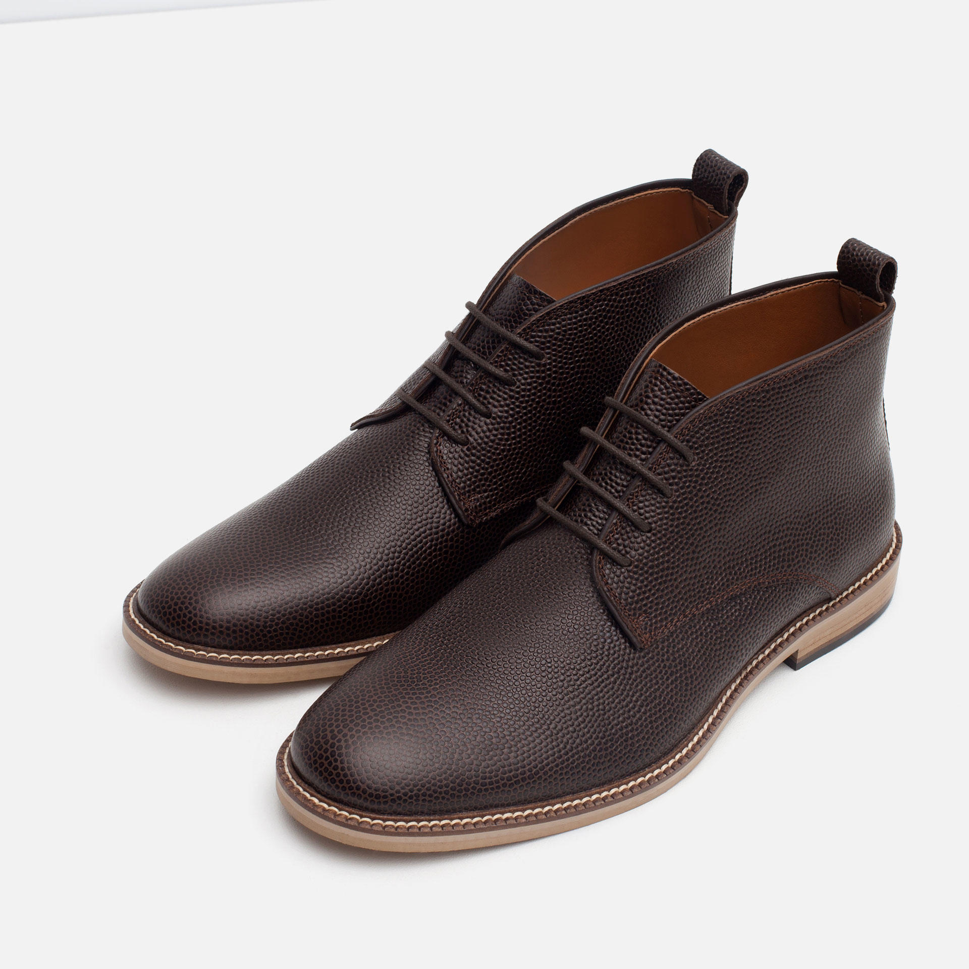 zara leather desert boots in brown for lyst