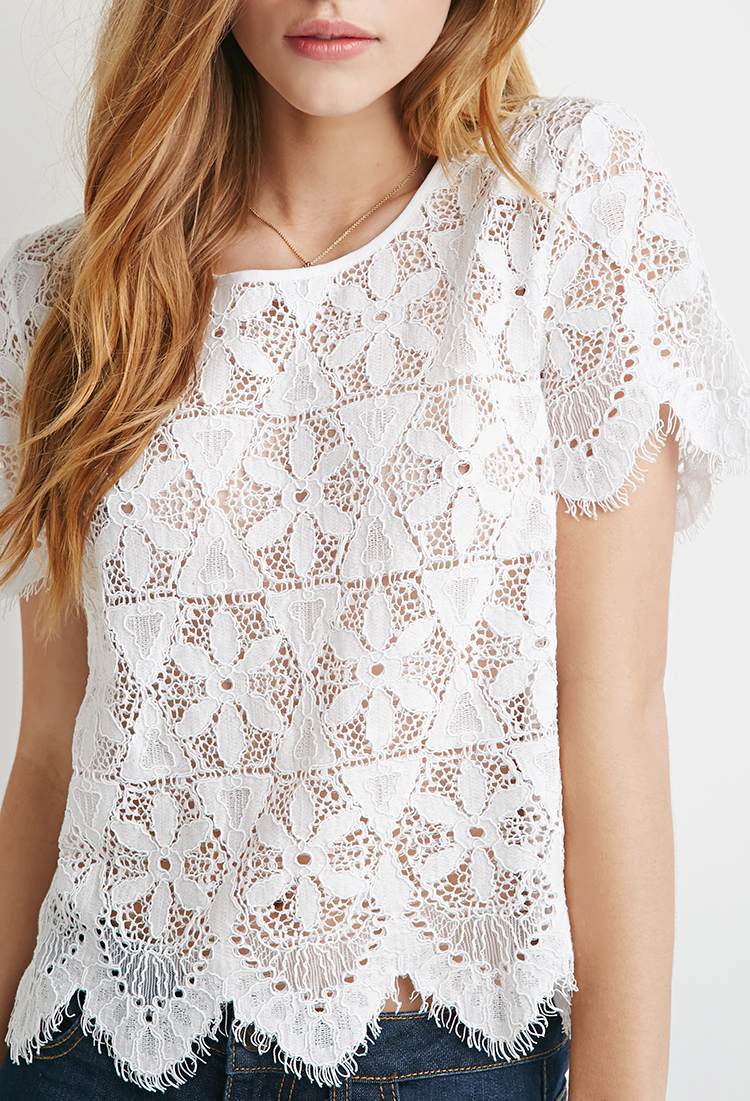 Forever 21 Embroidered Eyelash Lace Top In White Lyst