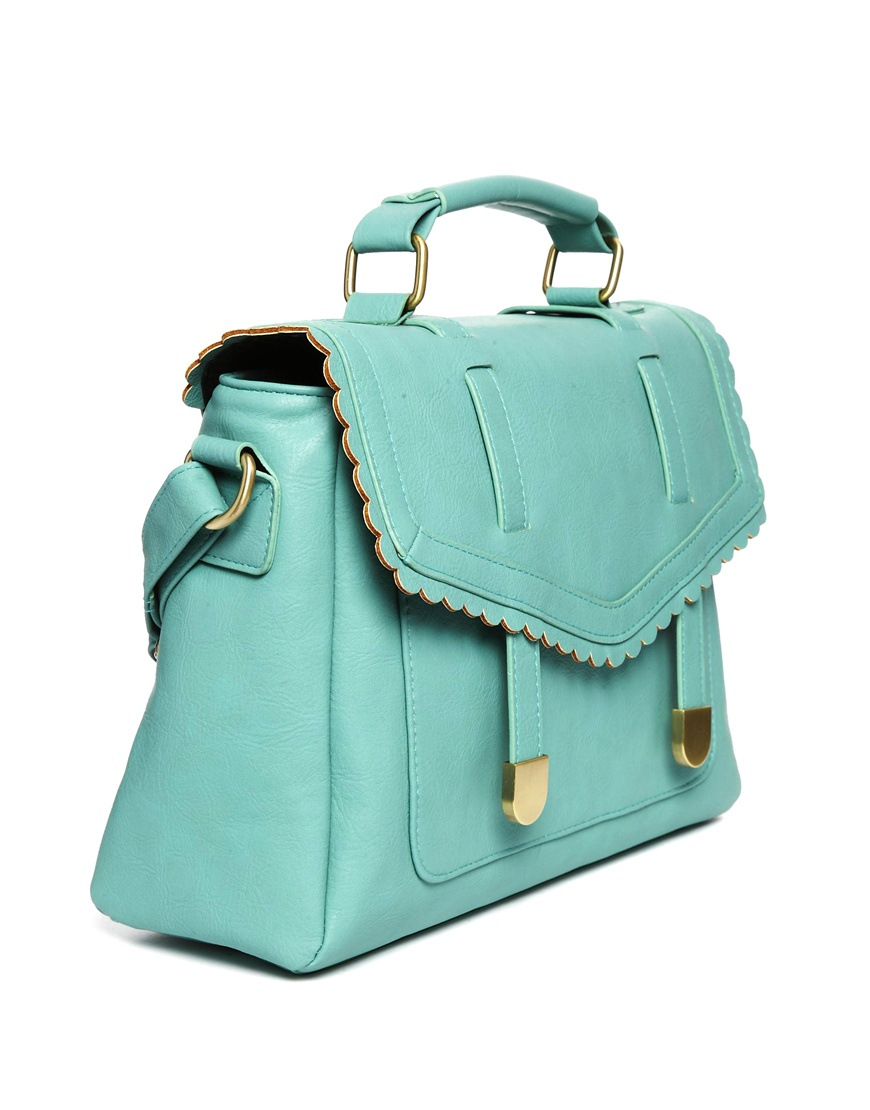 Asos Satchel Bag with Scallop Flap and Slot Through Straps in ...