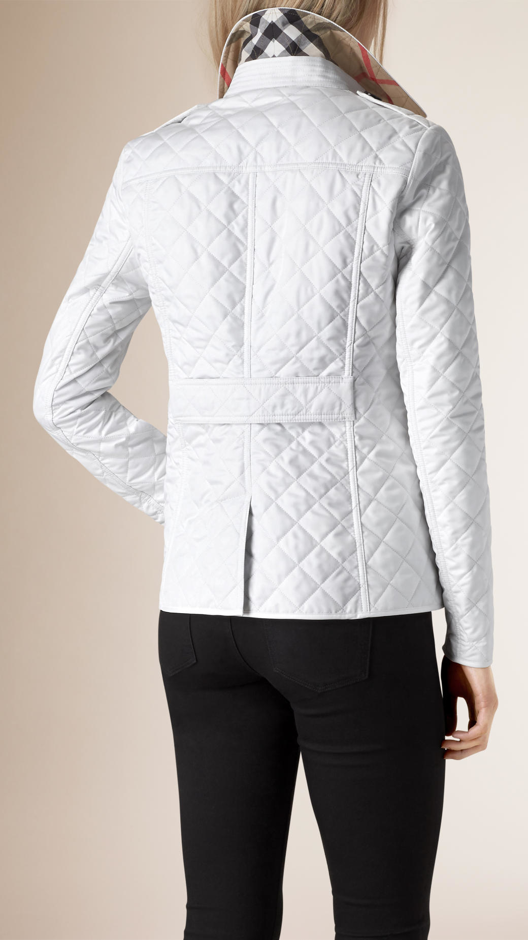 Lyst Burberry Diamond Quilted Jacket In White
