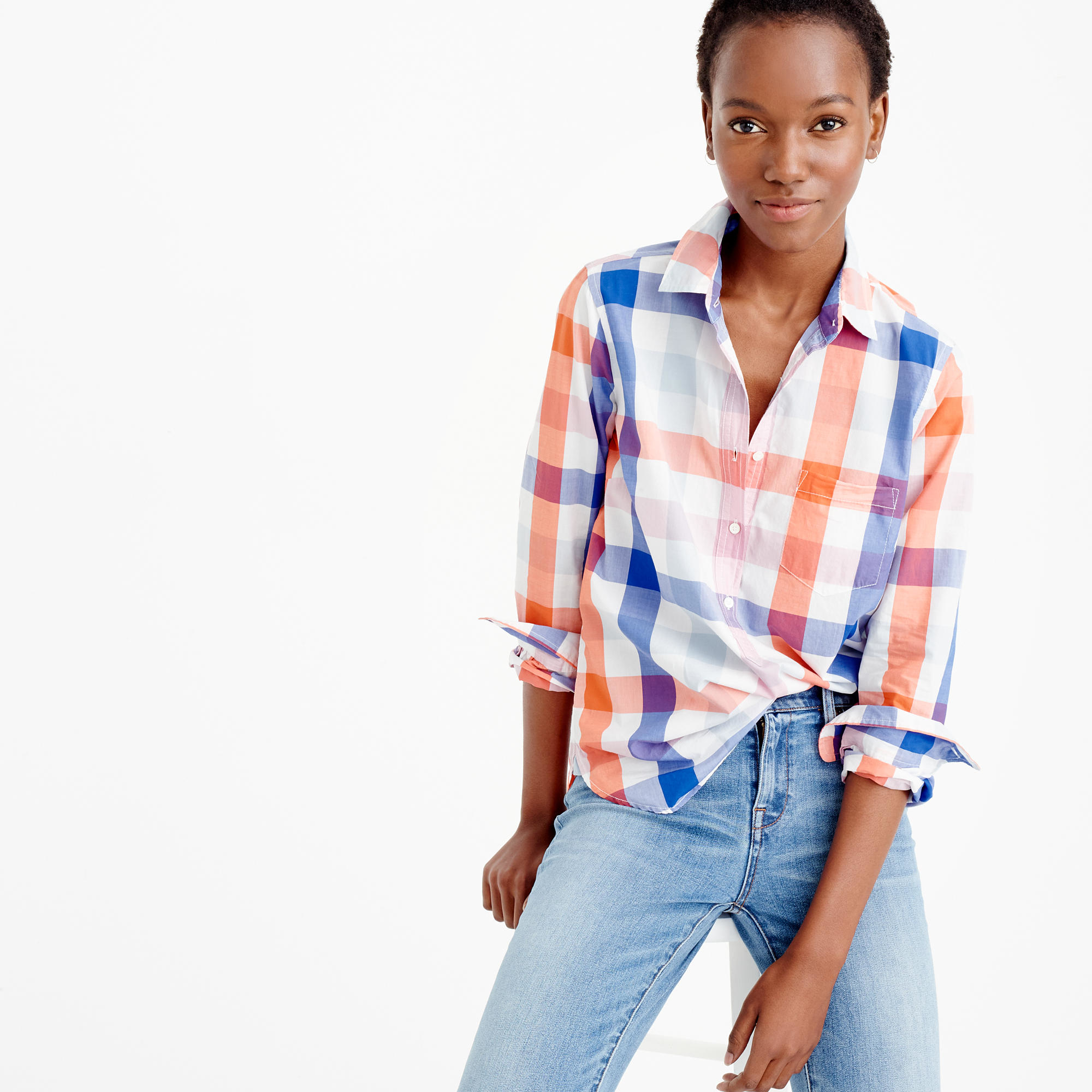Popover shirt in oversized plaid lyst for Oversized plaid shirt womens