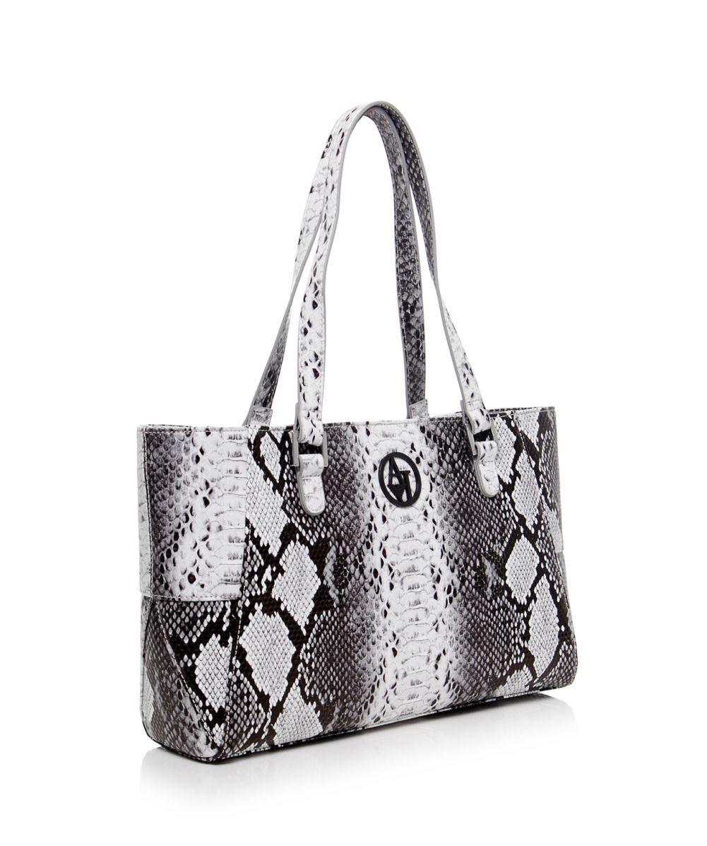 Lyst - Armani Jeans Snake Print Small Shopper Bag in Gray f5e7c4628739d