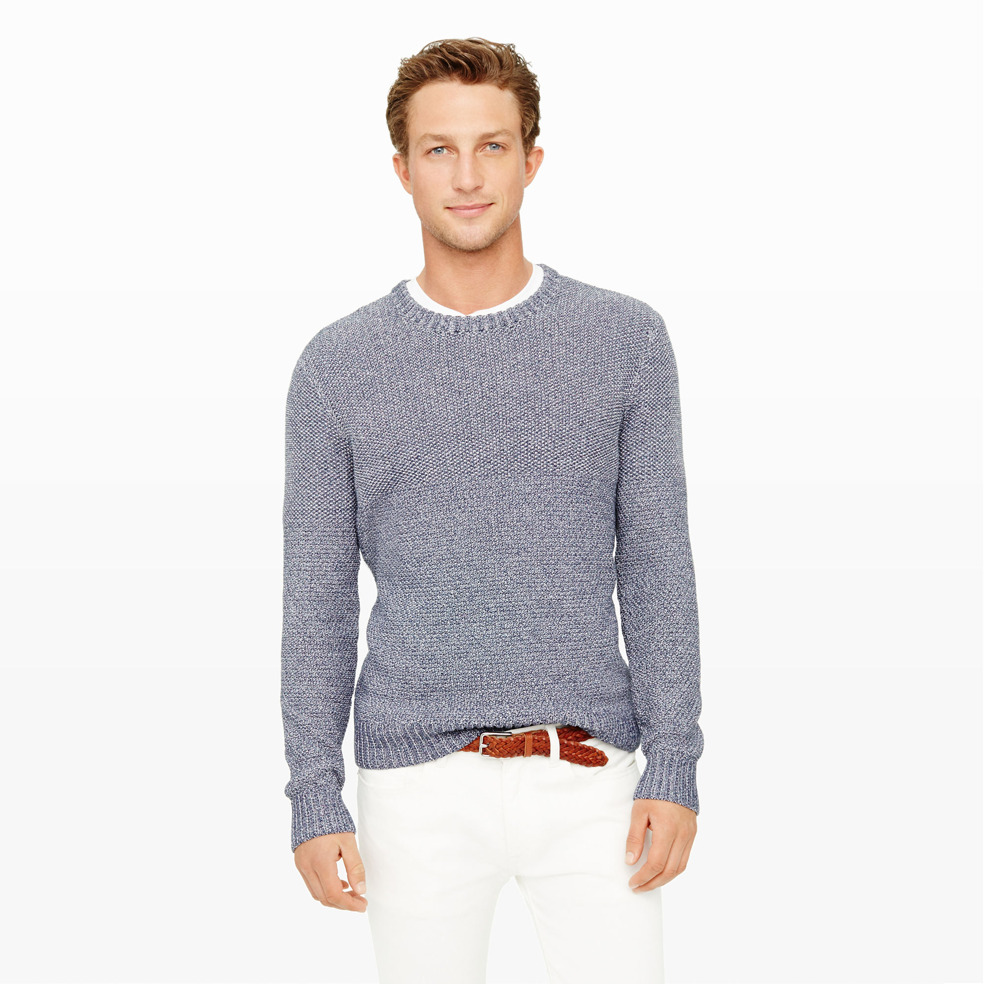 26a181151c27 Club Monaco Split-Stitch Crewneck Sweater in Blue for Men - Lyst