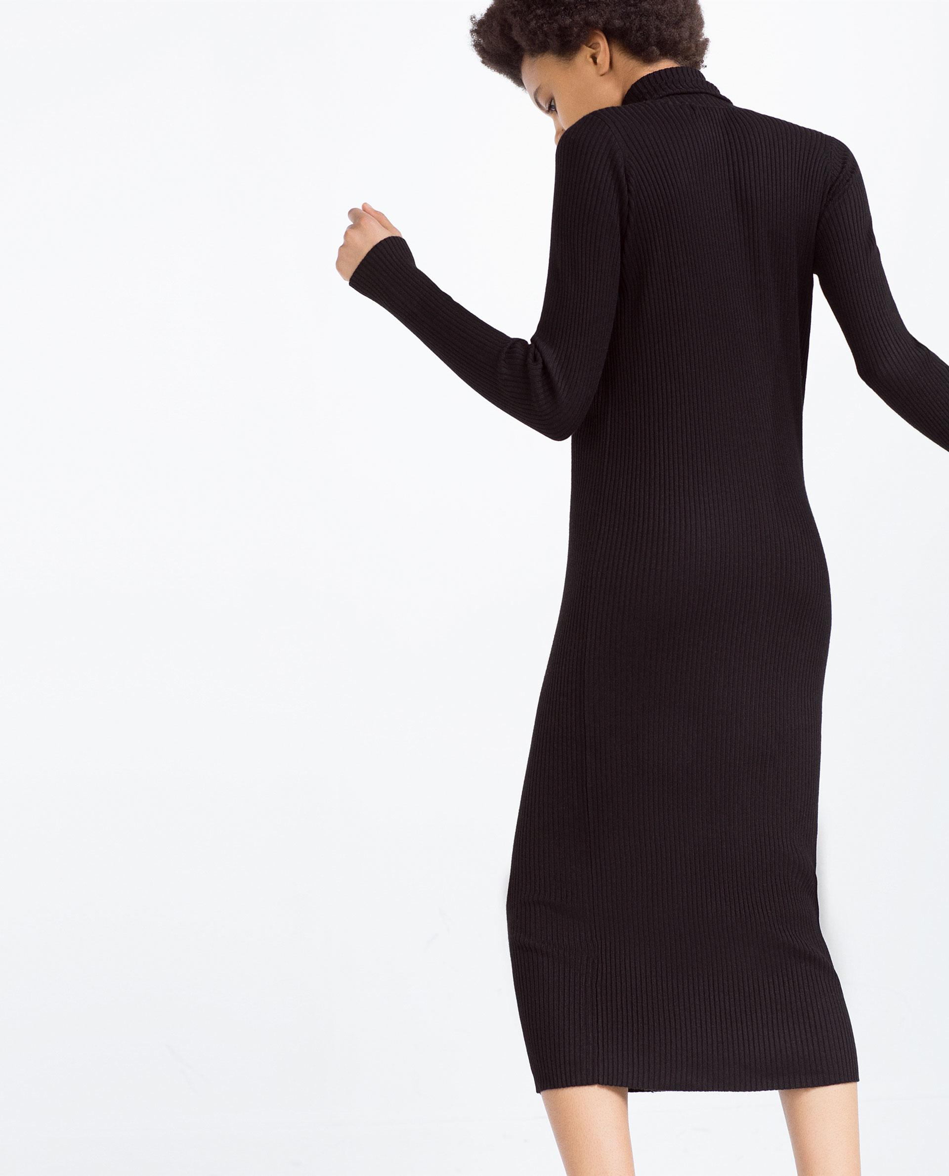 Zara Ribbed Dress In Black Lyst