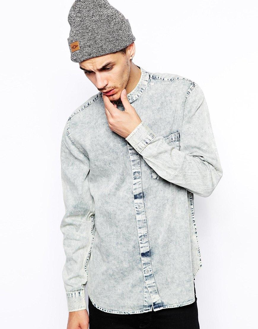 Cheap monday Collarless Denim Shirt in Blue for Men   Lyst
