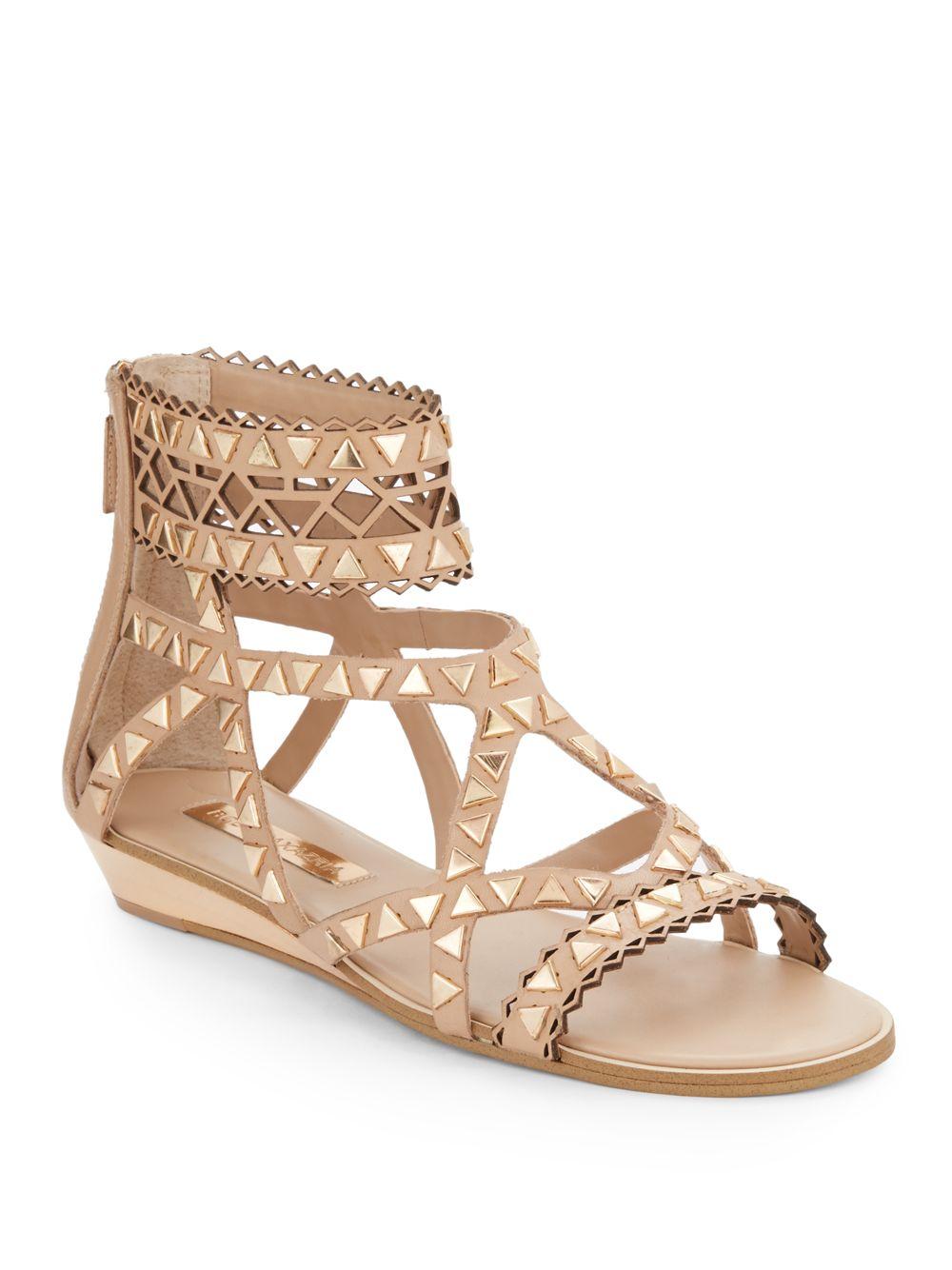 Bcbgmaxazria Brianna Embellished Low Wedge Leather Sandals