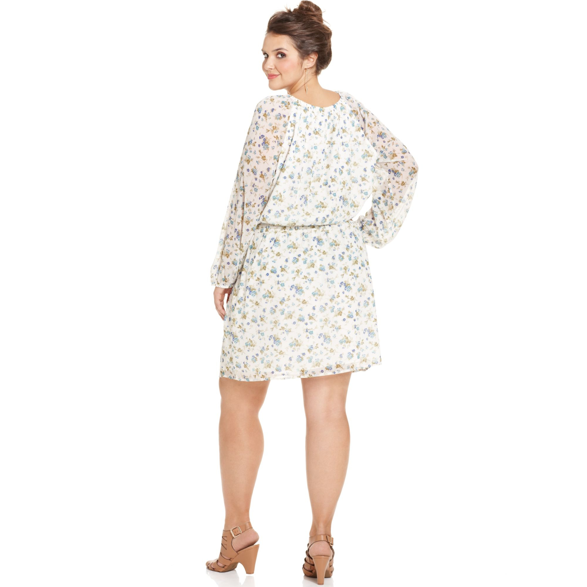 Jessica simpson Plus Size Floralprint Peasant Dress in White | Lyst