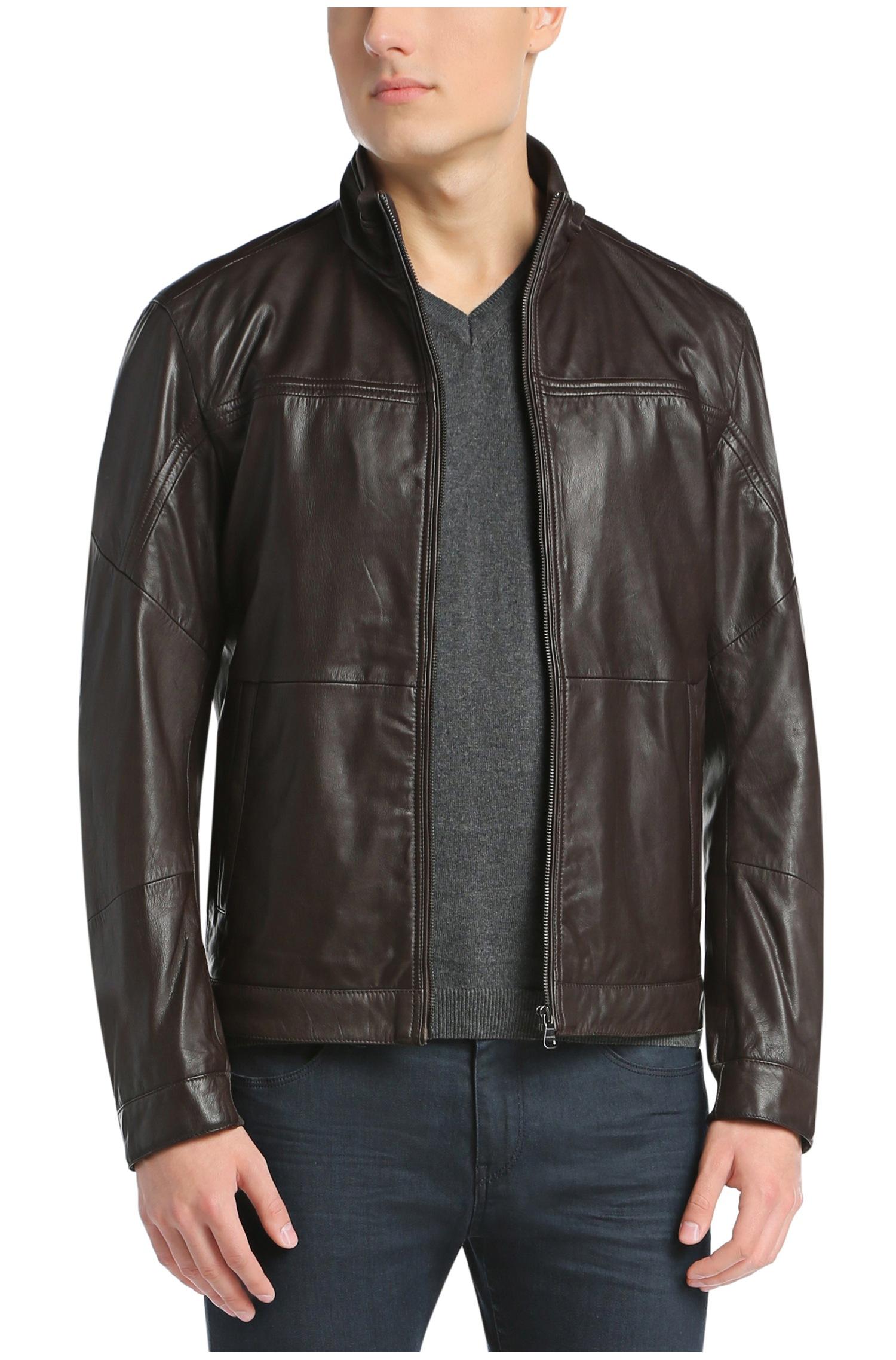 Leather jacket olx - Straight Cut Leather Jacket