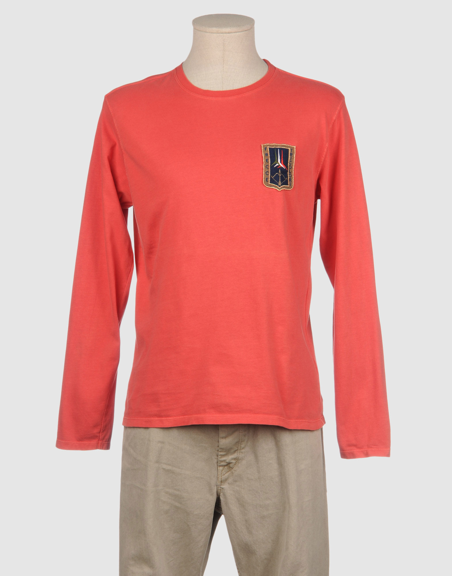 A m long sleeve t shirt in pink for men coral save 62 for Mens pink long sleeve shirt
