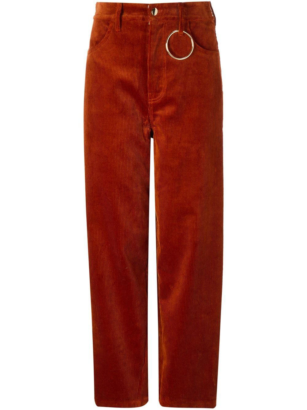 Hyein Seo Ring Detail Cotton Corduroy Pants In Brown Lyst