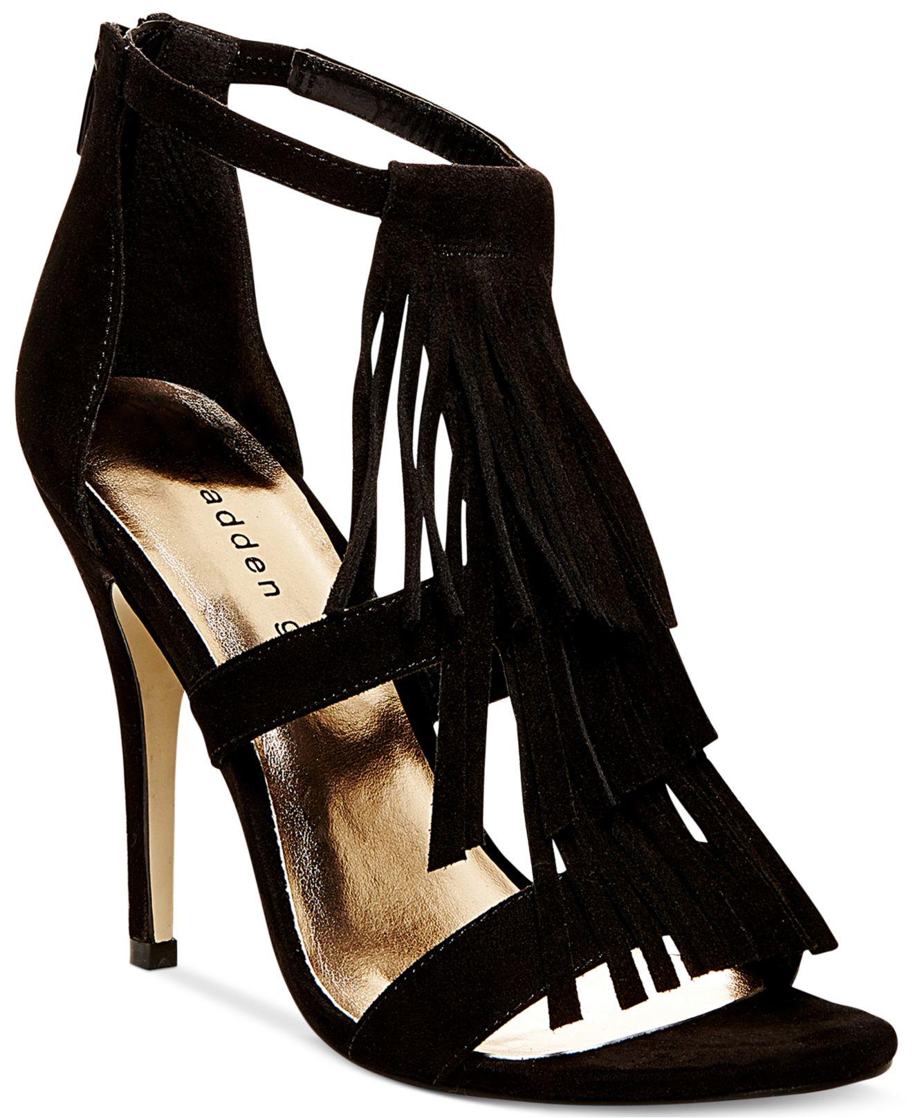madden demiiii fringe dress sandals in black lyst