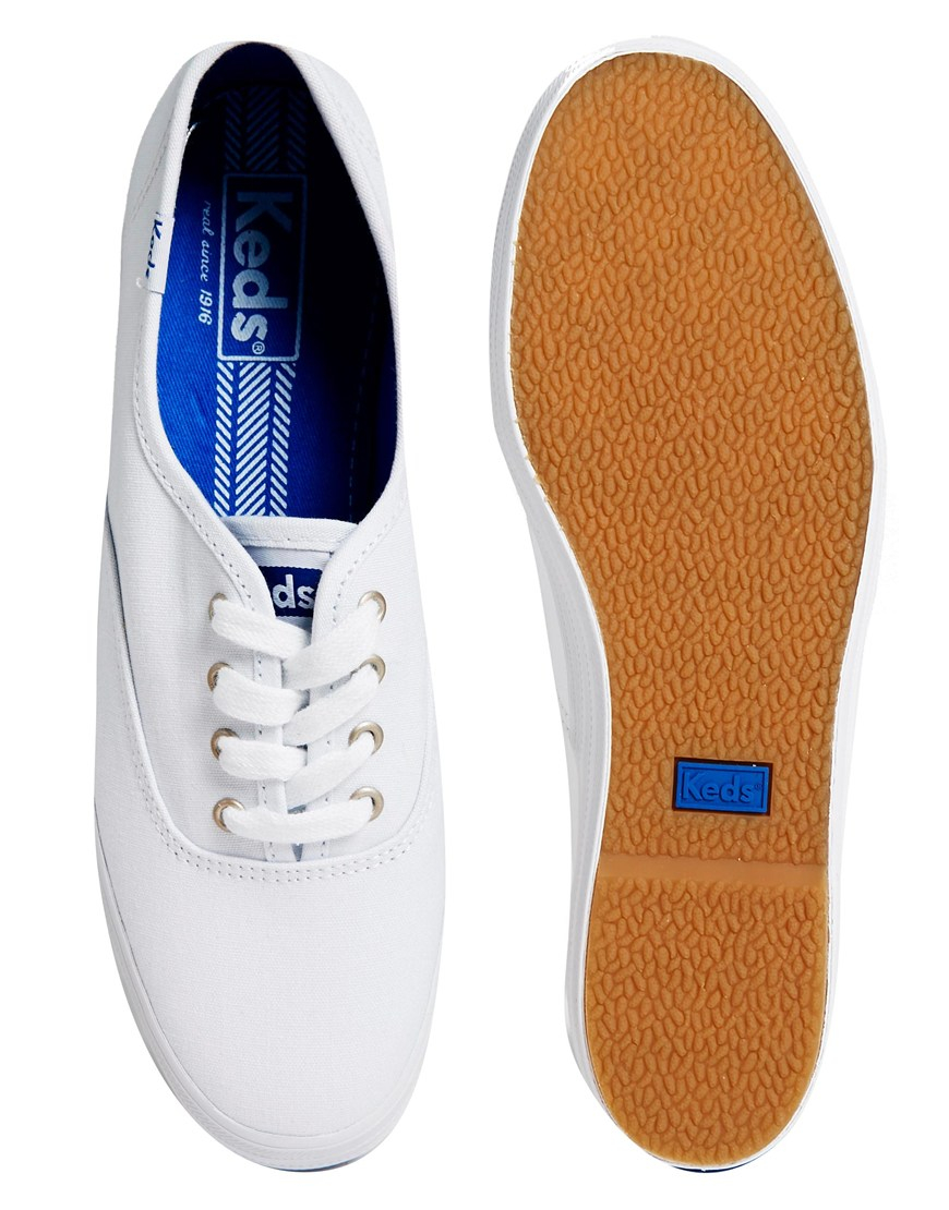 6ef198a25240d Lyst - Keds Champion Triple White Core Plimsoll Trainers in White