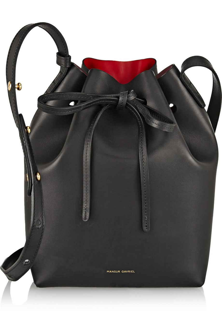 mansur gavriel mini leather bucket bag in black lyst. Black Bedroom Furniture Sets. Home Design Ideas